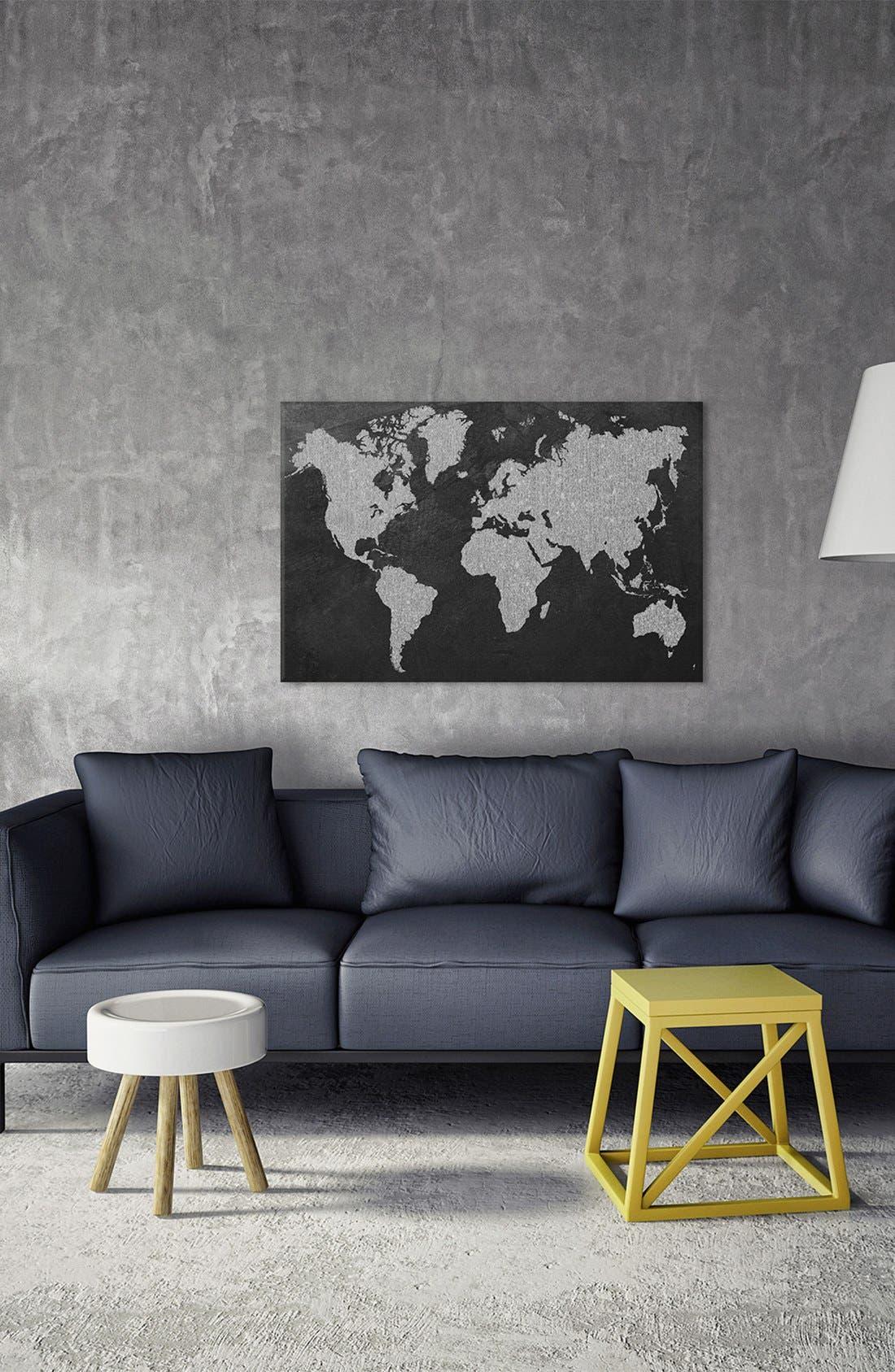 Alternate Image 2  - iCanvas 'Grey Map' Giclée Print Canvas Art