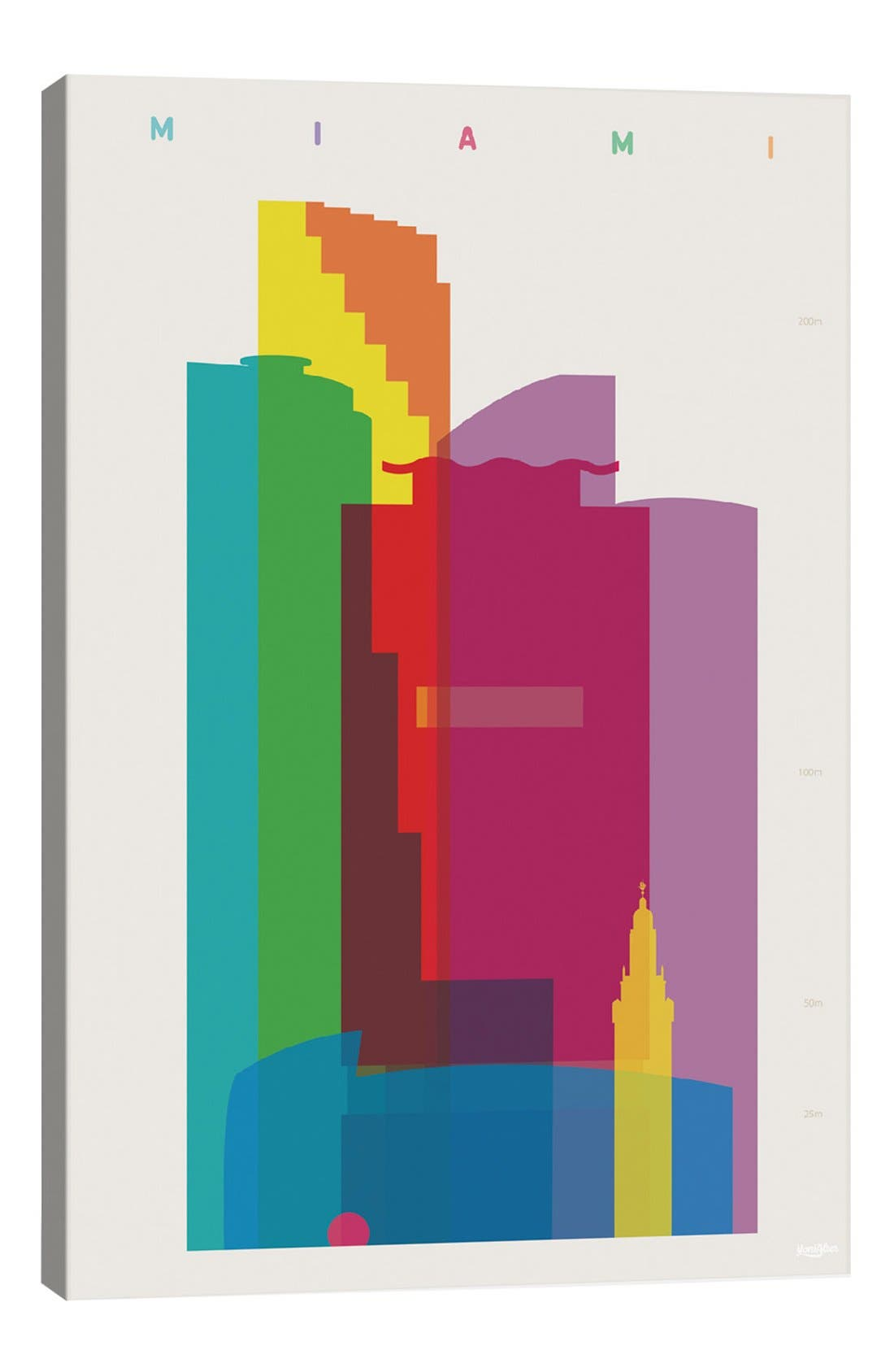 'Miami' Giclée Print Canvas Art,                             Main thumbnail 1, color,                             White