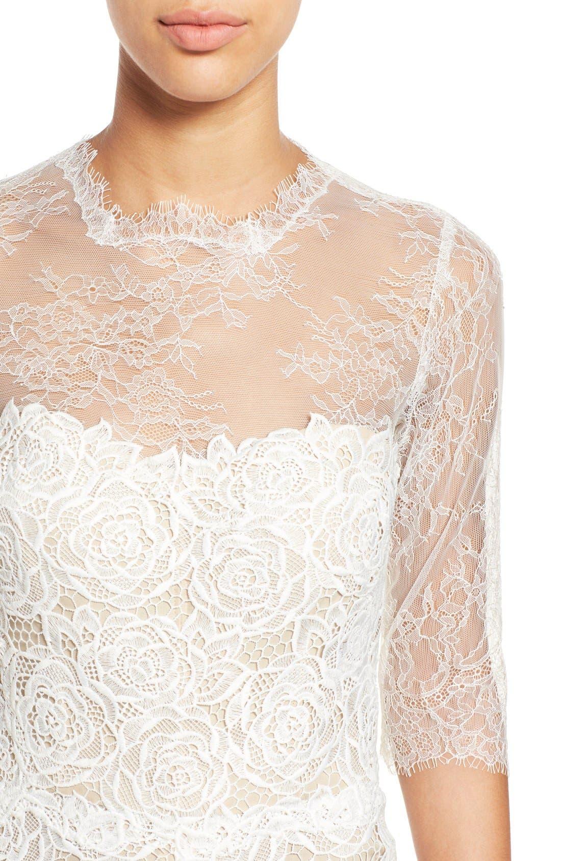 Monique Lhuillier Ready to Wed Guipure Lace Jumpsuit,                             Alternate thumbnail 4, color,                             Silk White/ Nude