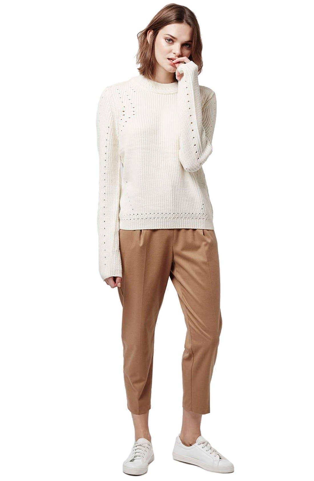 Alternate Image 2  - Topshop Pointelle Ribbed Crewneck Sweater
