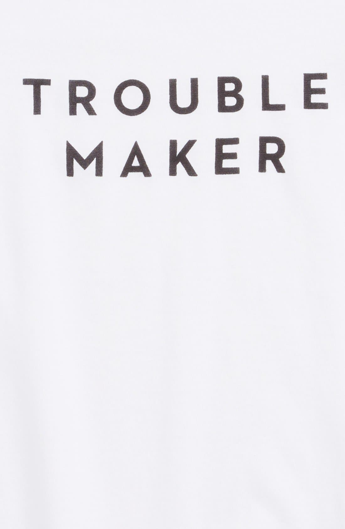 'Trouble Maker' Graphic Tee,                             Alternate thumbnail 2, color,                             White