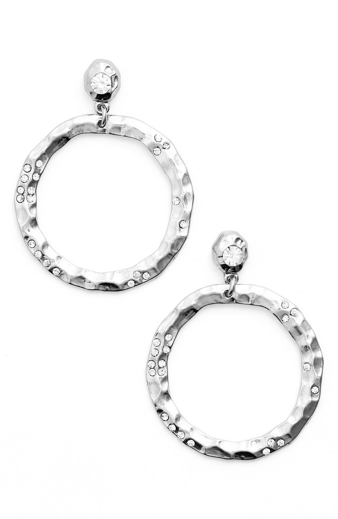 Jewely Cubic Zirconia Frontal Hoop Earrings,                         Main,                         color, Silver