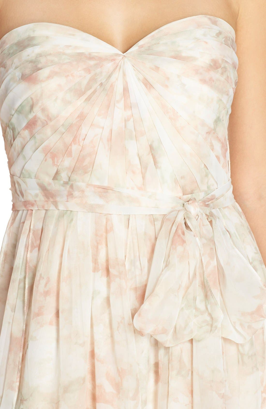 Nyla Floral Print Convertible Strapless Chiffon Gown,                             Alternate thumbnail 4, color,                             Blush Multi