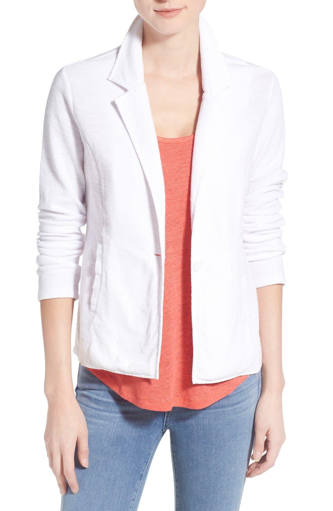 Caslon® One-Button Knit Blazer (Regular & Petite)