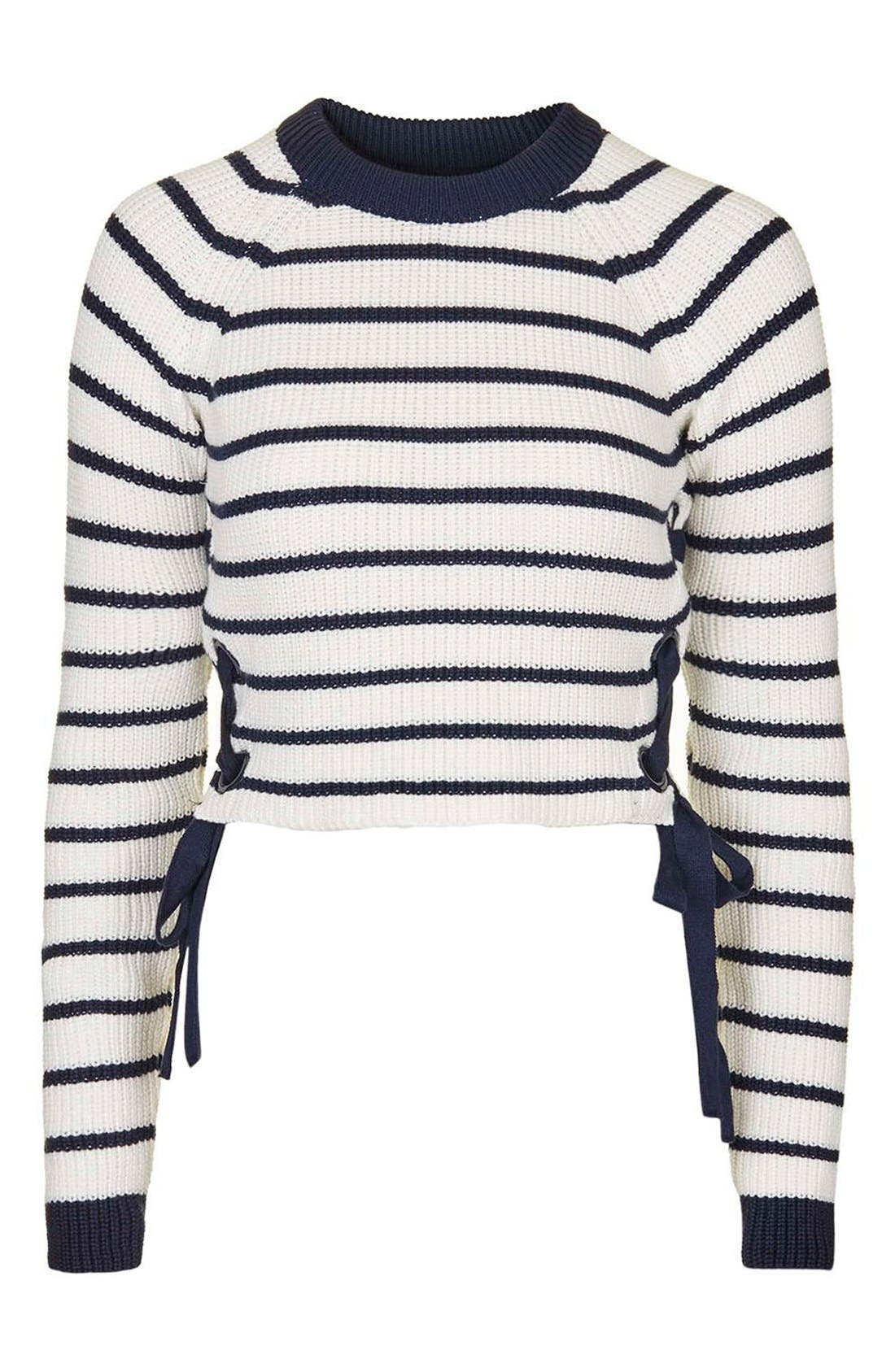 Alternate Image 5  - Topshop Lace-Up Crop Sweater