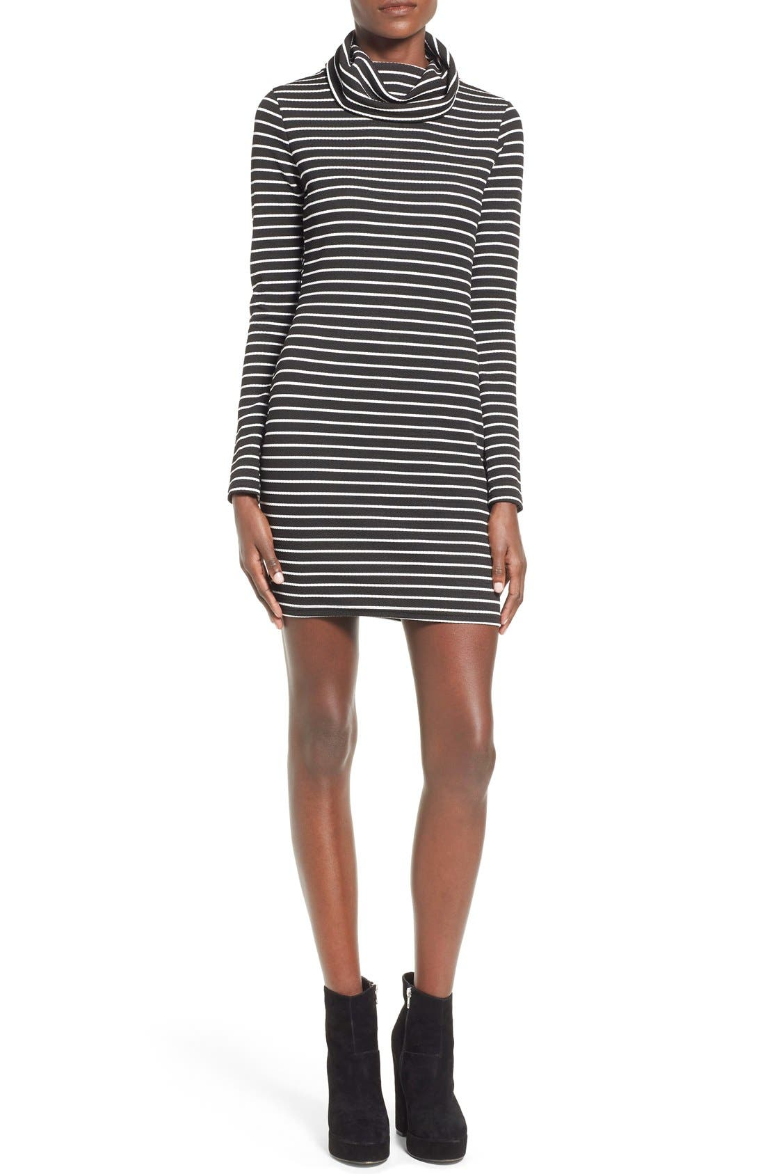 Main Image - Missguided Stripe Turtleneck Body-Con Dress