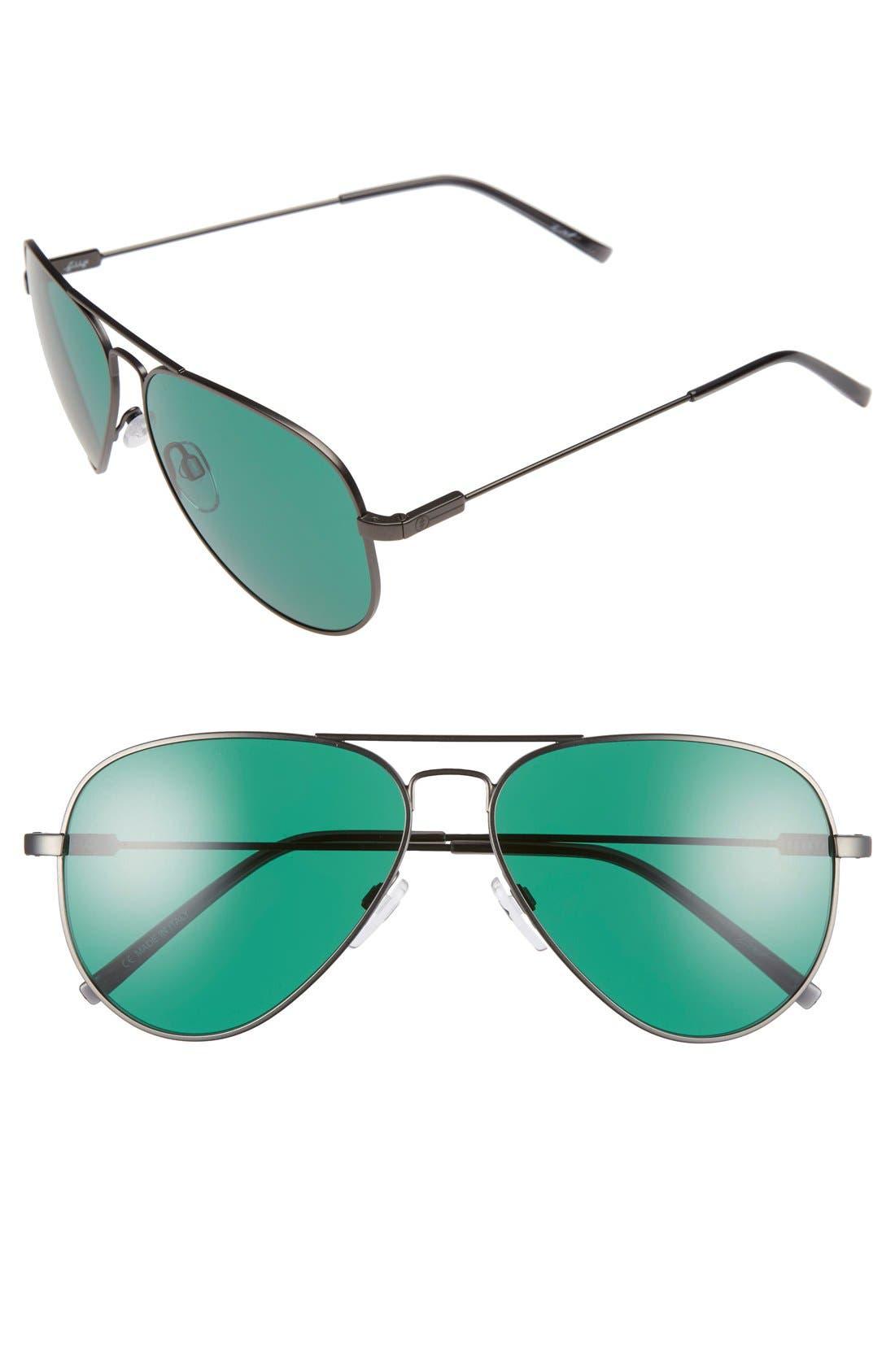 'AV1' 58mm Sunglasses,                         Main,                         color, Matte Gunmetal/ Green