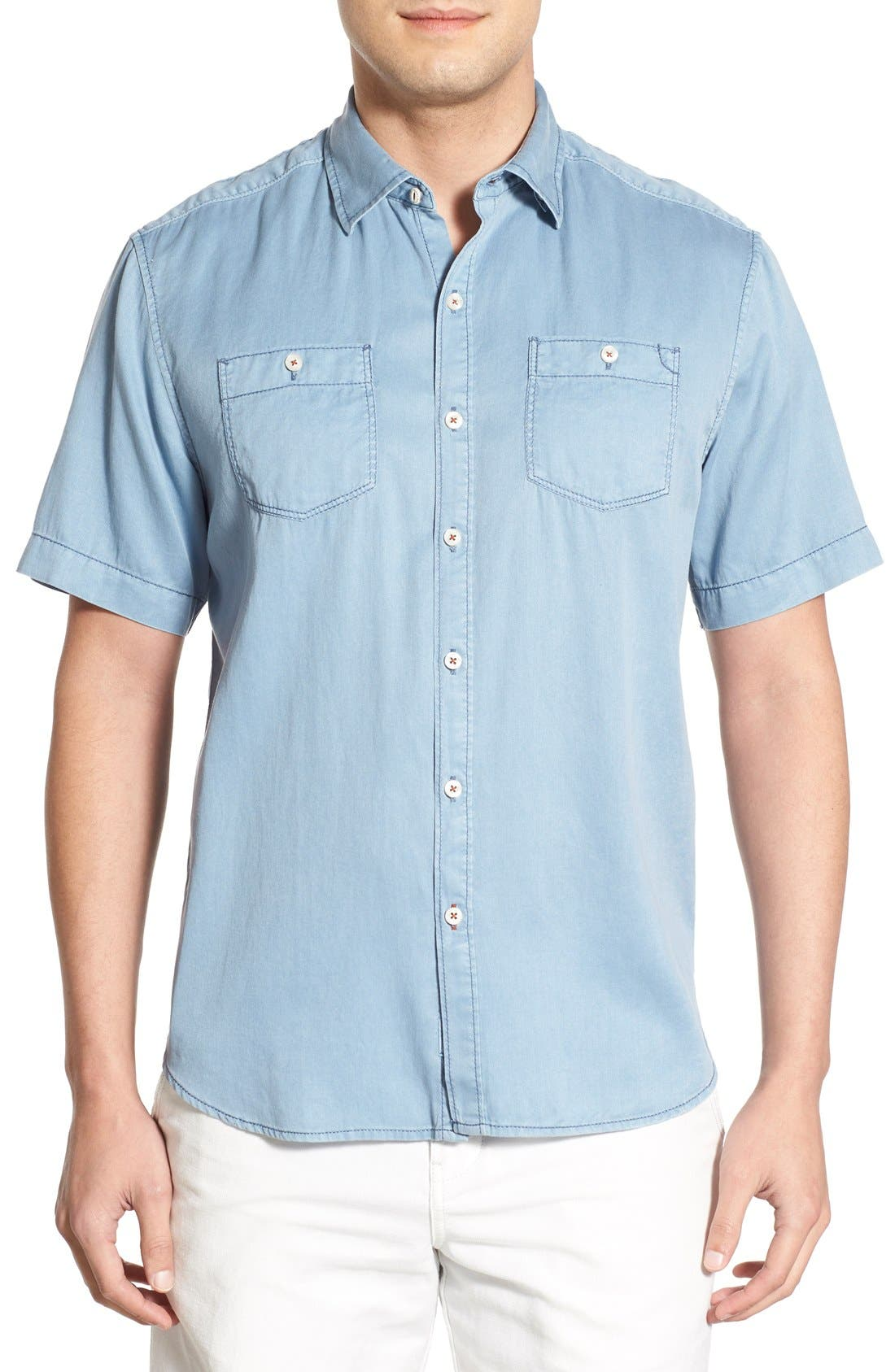 'New Twilly' Island Modern Fit Short Sleeve Twill Shirt,                             Main thumbnail 1, color,                             Denim Blue