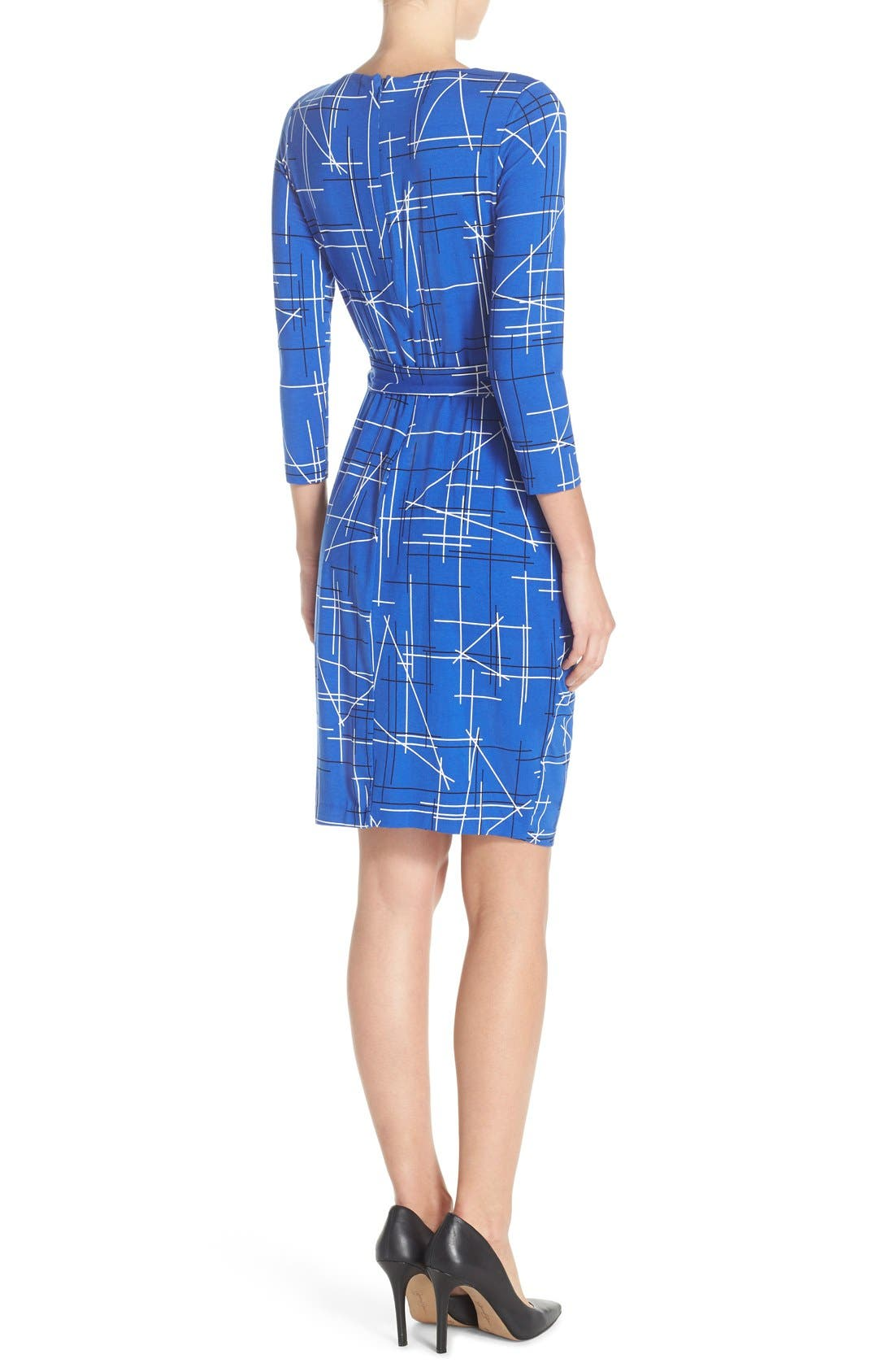 Print Faux Wrap Dress,                             Alternate thumbnail 2, color,                             Electric Triangles Print