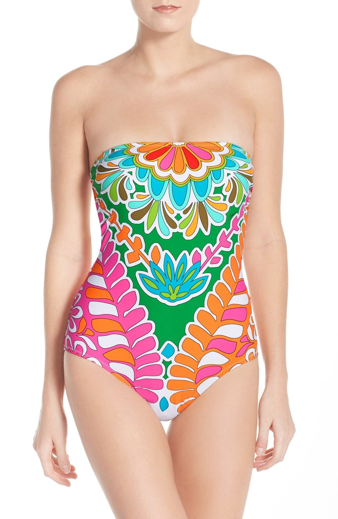 'Tamarindo' Convertible Bandeau-One Piece Swimsuit,                             Main thumbnail 1, color,                             Multi Pink
