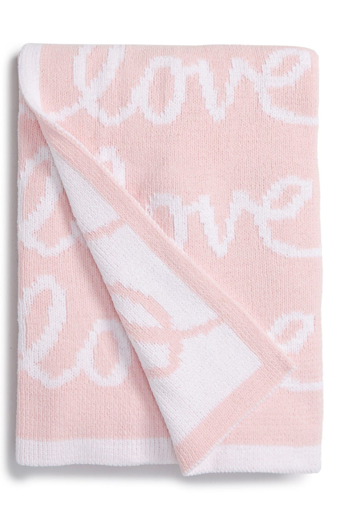 Chenille Blanket,                             Main thumbnail 1, color,                             Pink Baby Love