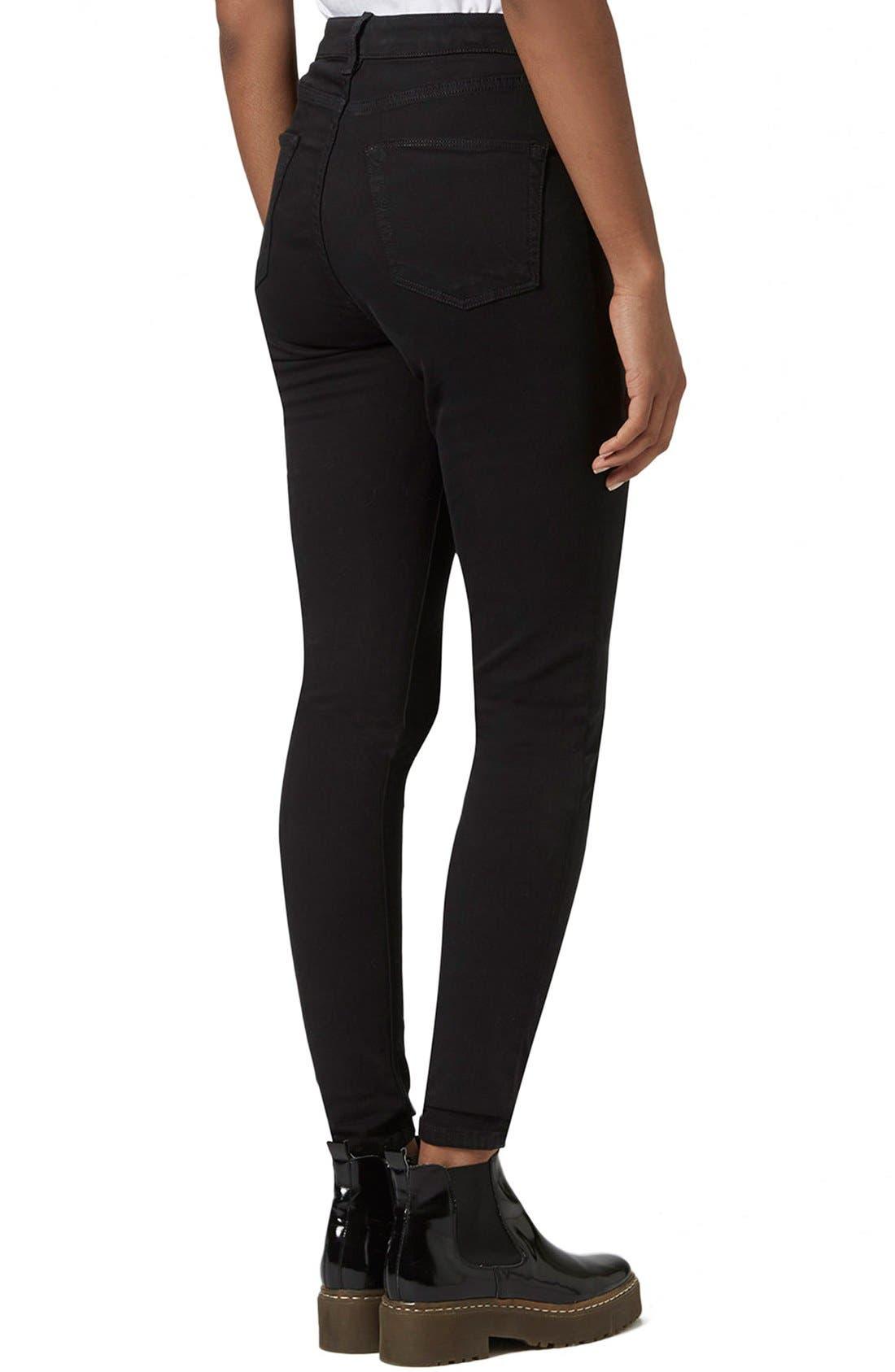 Moto 'Jamie' High Rise Skinny Jeans,                             Alternate thumbnail 3, color,                             Black