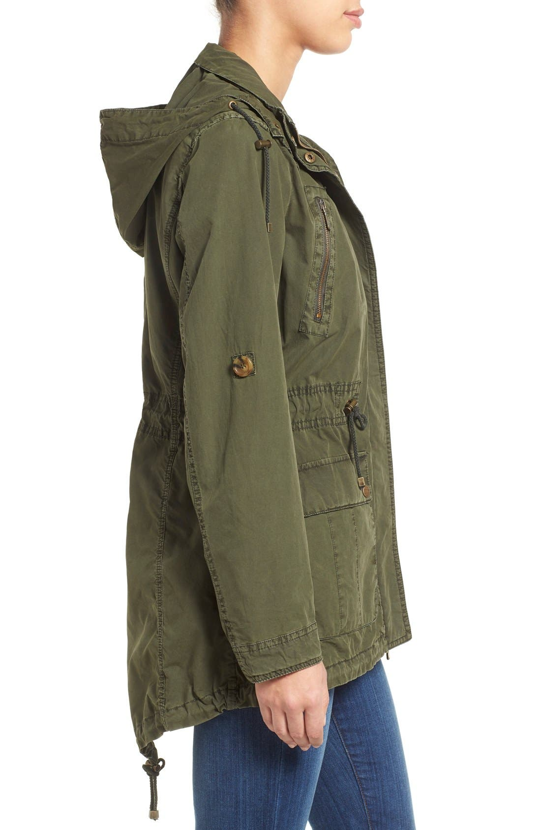 Parachute Hooded Cotton Utility Jacket,                             Alternate thumbnail 3, color,                             Army Green