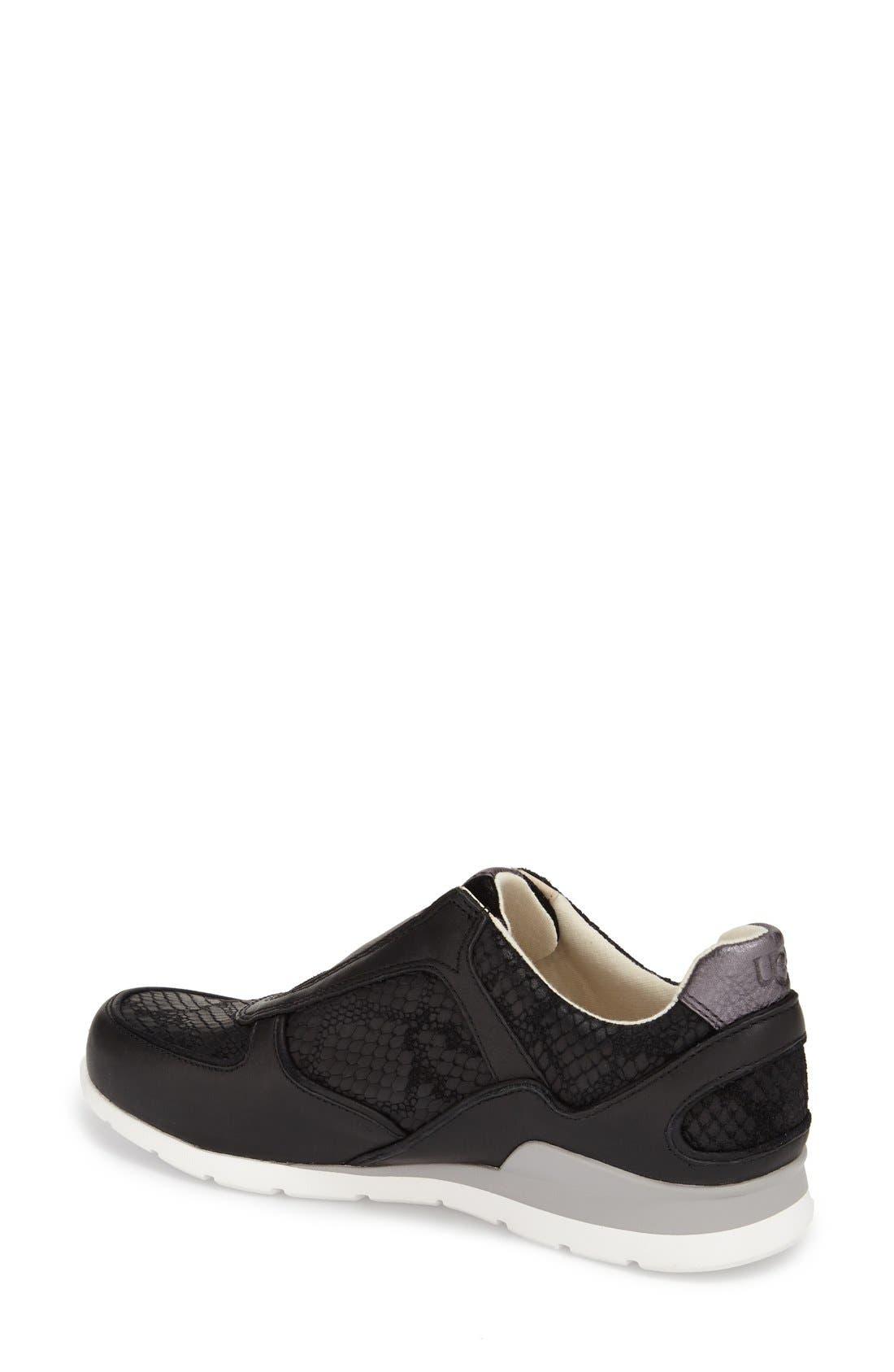 'Annetta' Slip-On Sneaker,                             Alternate thumbnail 3, color,                             Black Leather