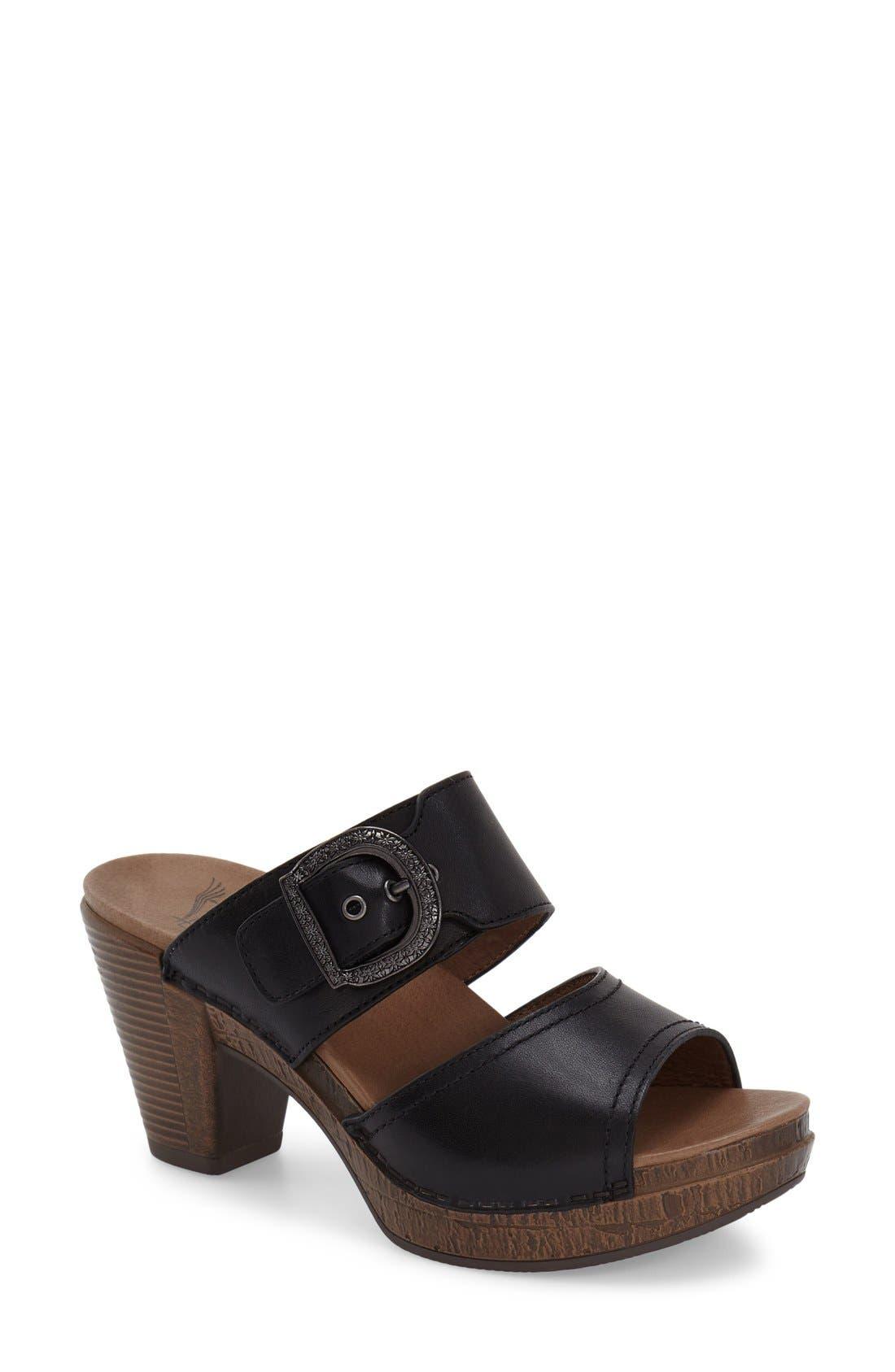 'Ramona' Sandal,                             Main thumbnail 1, color,                             Black Leather
