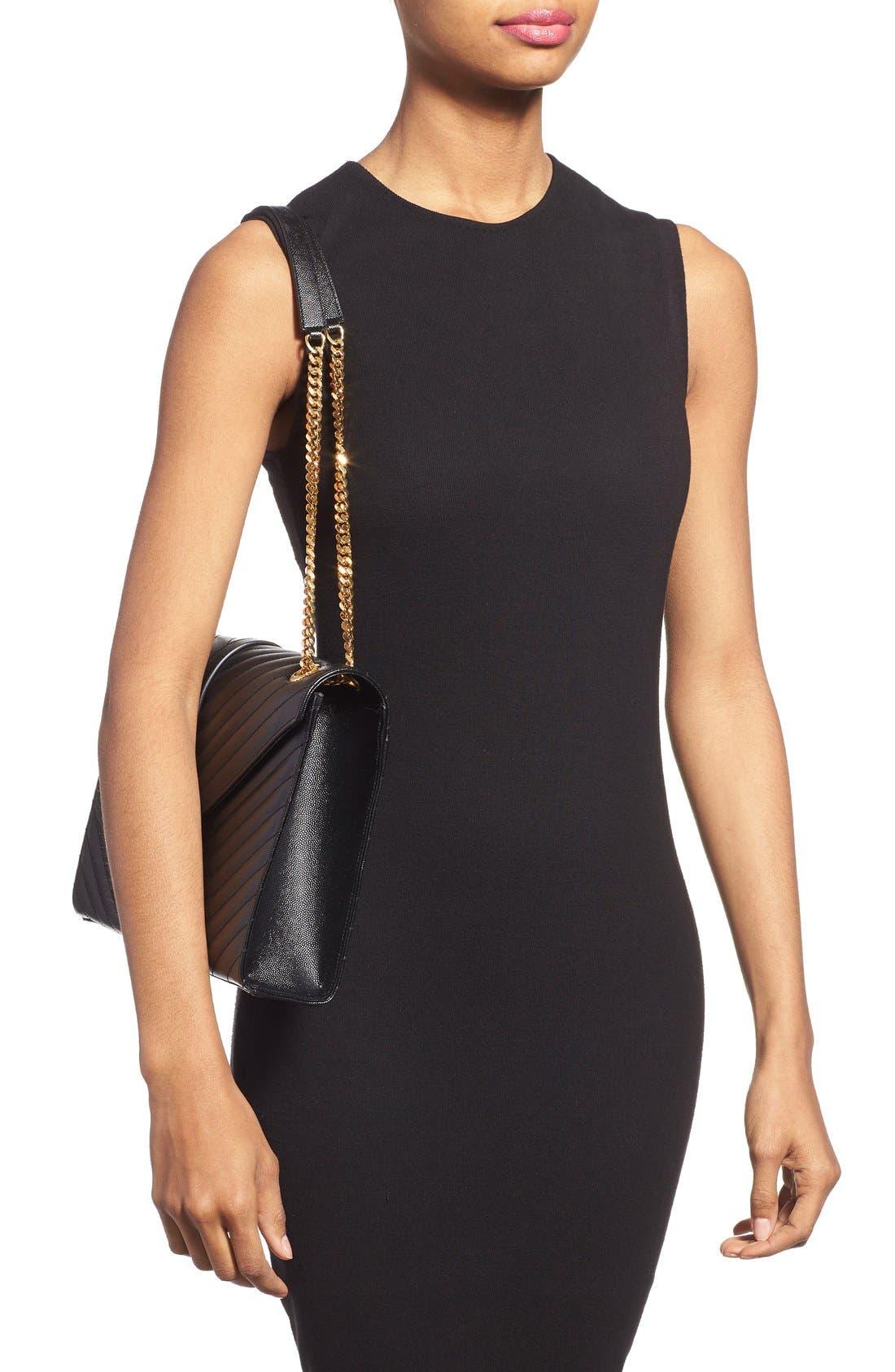 'Large Monogram' Grained Leather Shoulder Bag,                             Alternate thumbnail 2, color,                             Nero/ Gold Hdwr