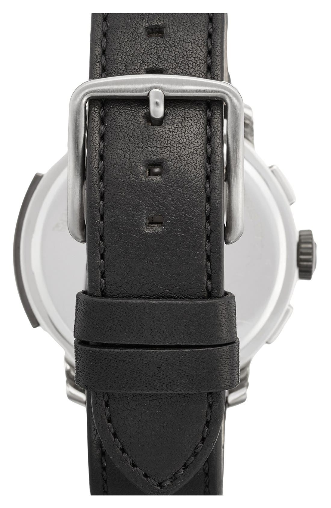'Bleecker' Chronograph Leather Strap Watch, 44mm,                             Alternate thumbnail 2, color,                             Black/ Black