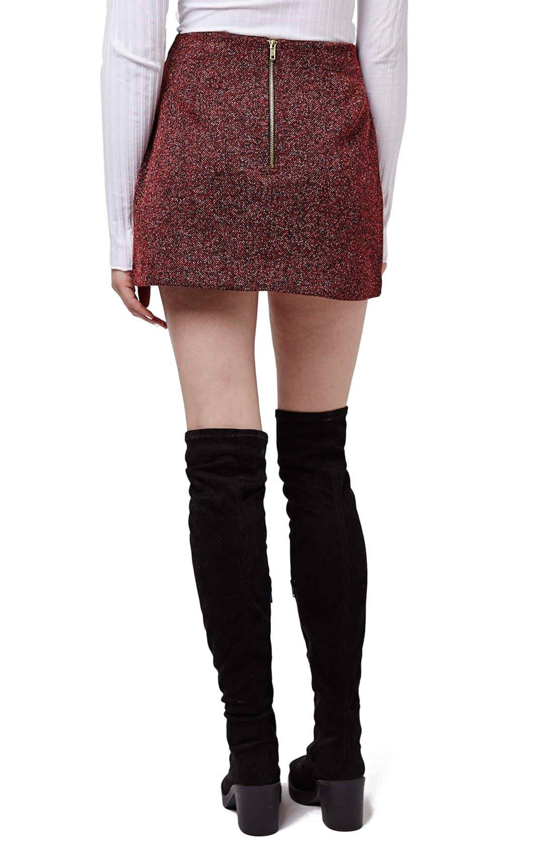 Alternate Image 3  - Topshop Marled Herringbone Miniskirt
