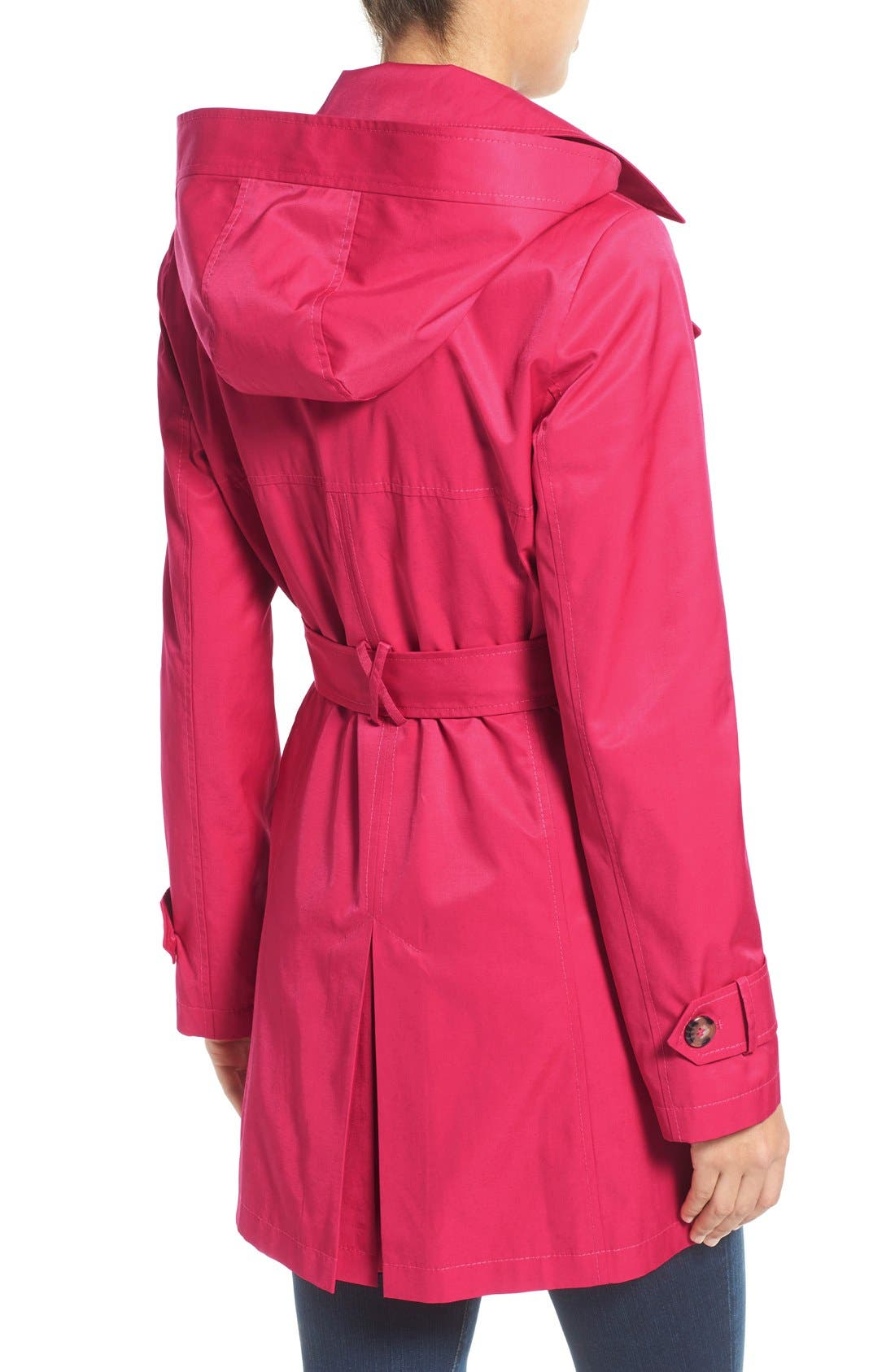 Detachable Hood Trench Coat,                             Alternate thumbnail 3, color,                             Primrose