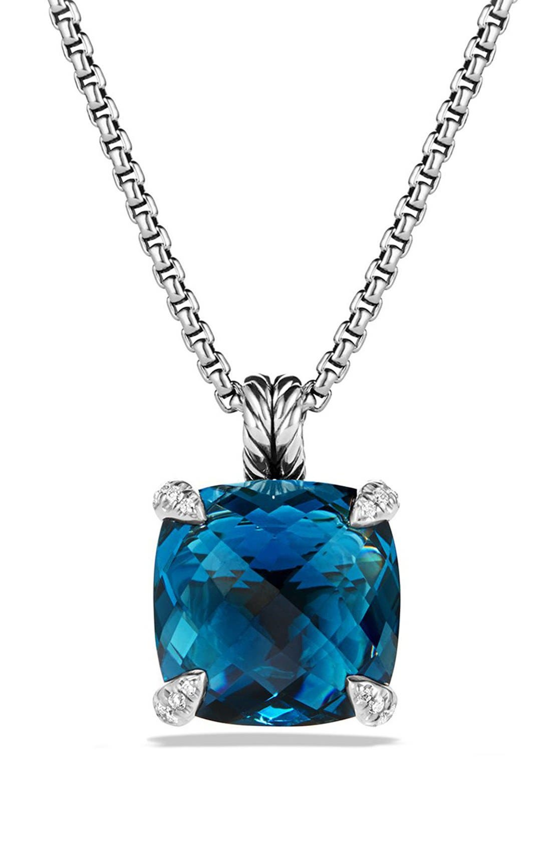 'Châtelaine' Pendant Necklace with Semiprecious Stone and Diamonds,                             Main thumbnail 1, color,                             Silver/ Hampton Blue Topaz