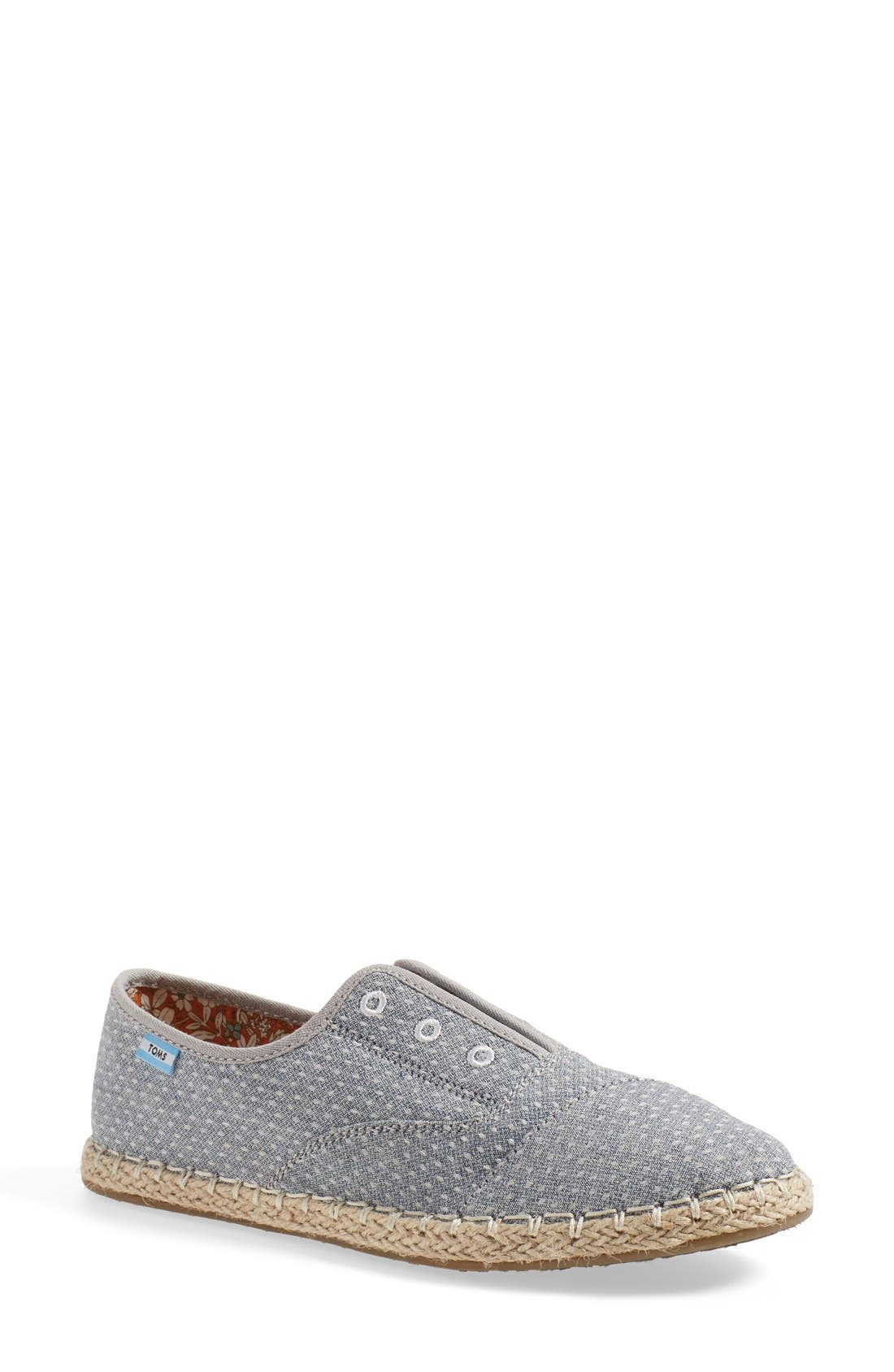 'Palmera' Chambray Dot Slip-On,                         Main,                         color, Chambray Dot Fabric
