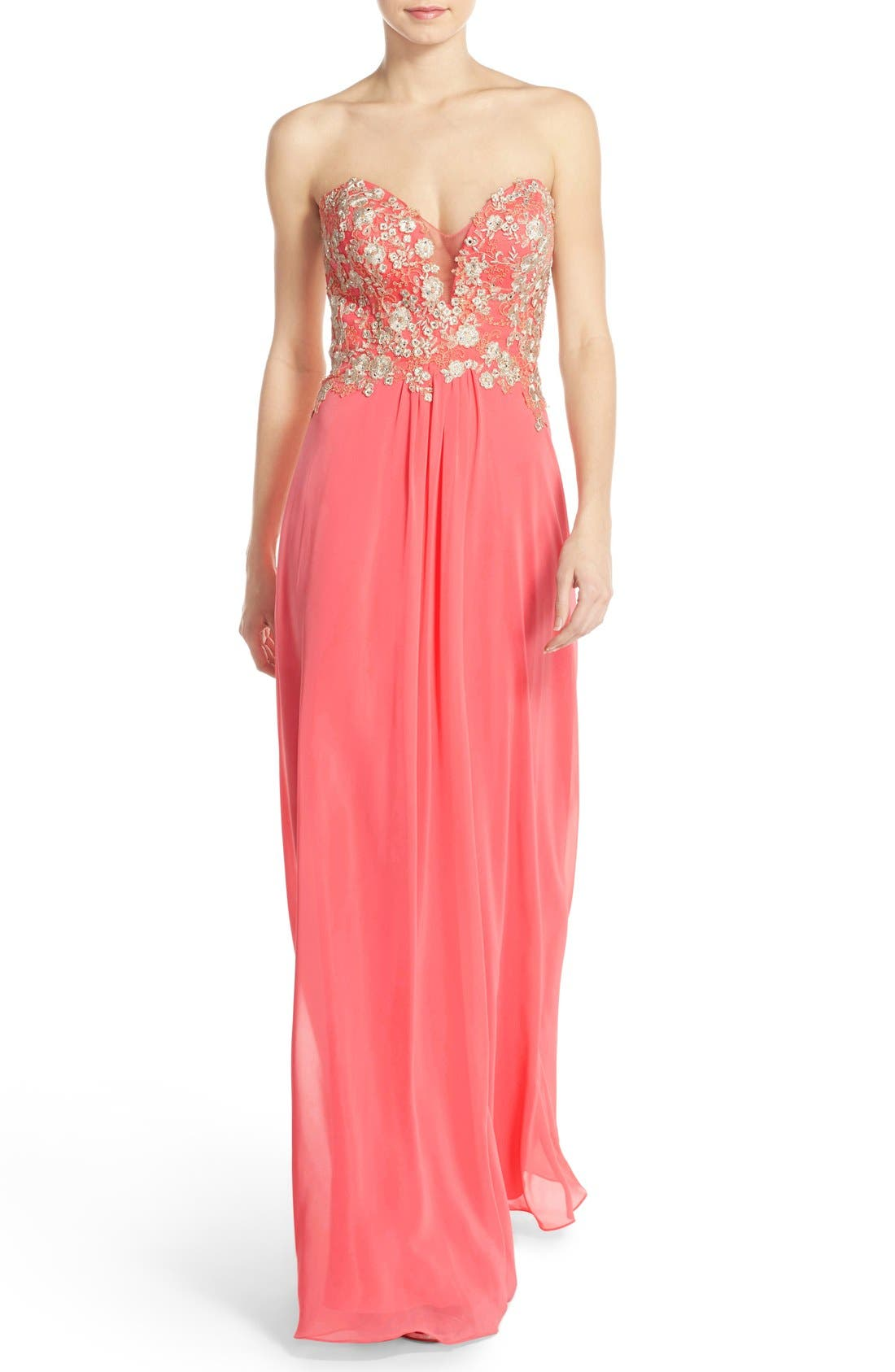 Alternate Image 1 Selected - Faviana Embroidered Chiffon Gown
