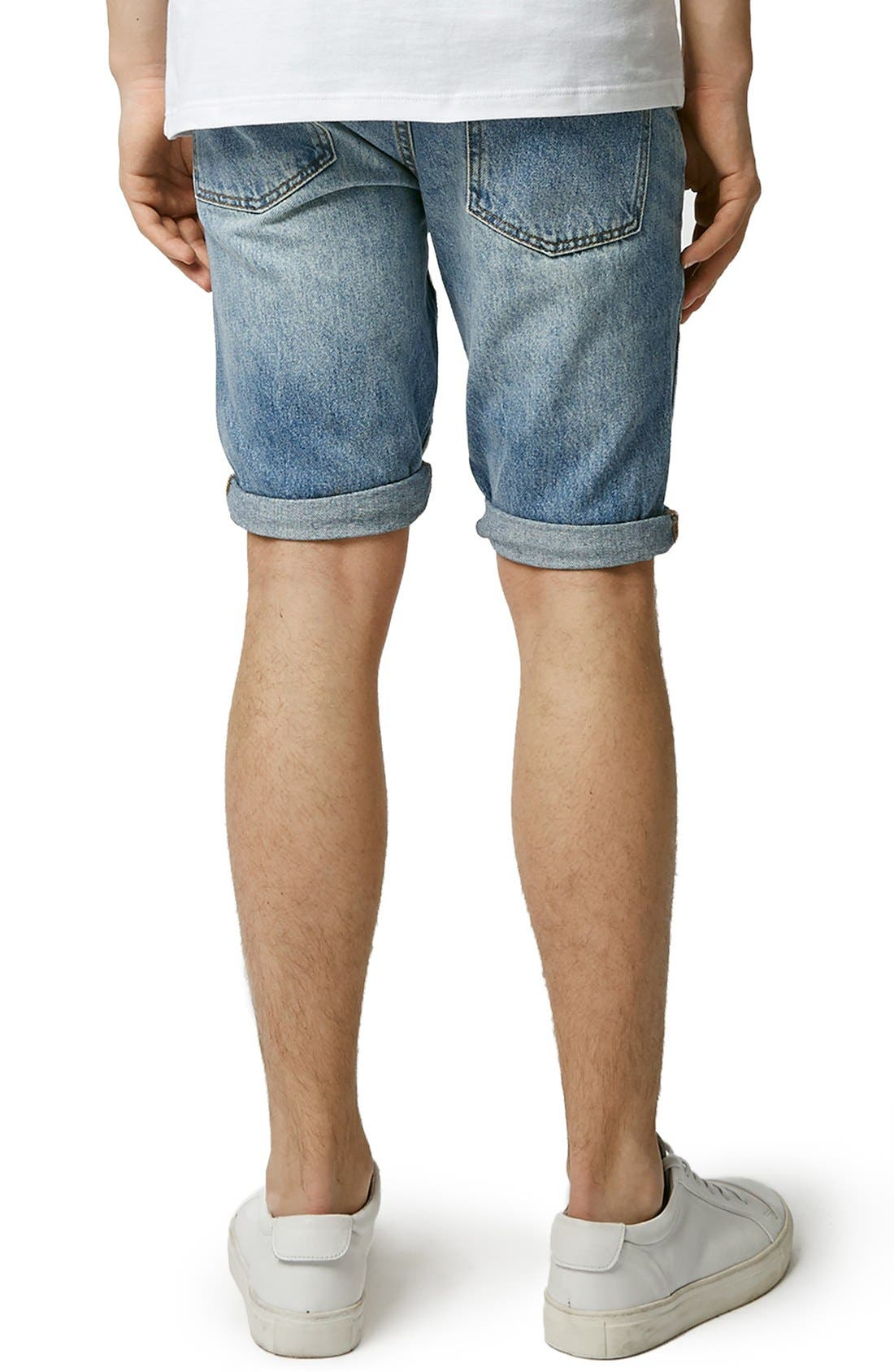 Alternate Image 2  - Topman Ripped Skinny Fit Denim Shorts