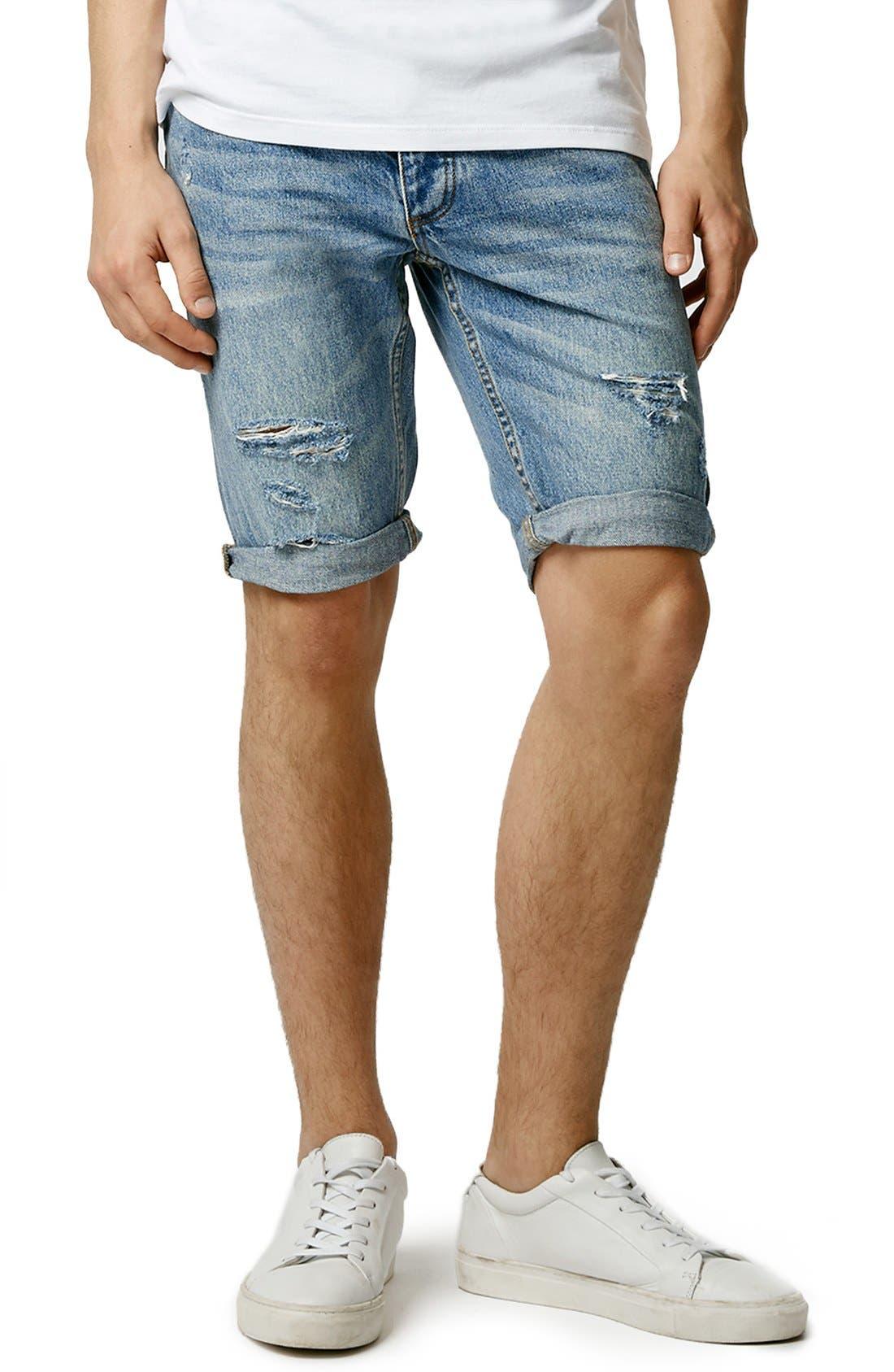 Main Image - Topman Ripped Skinny Fit Denim Shorts
