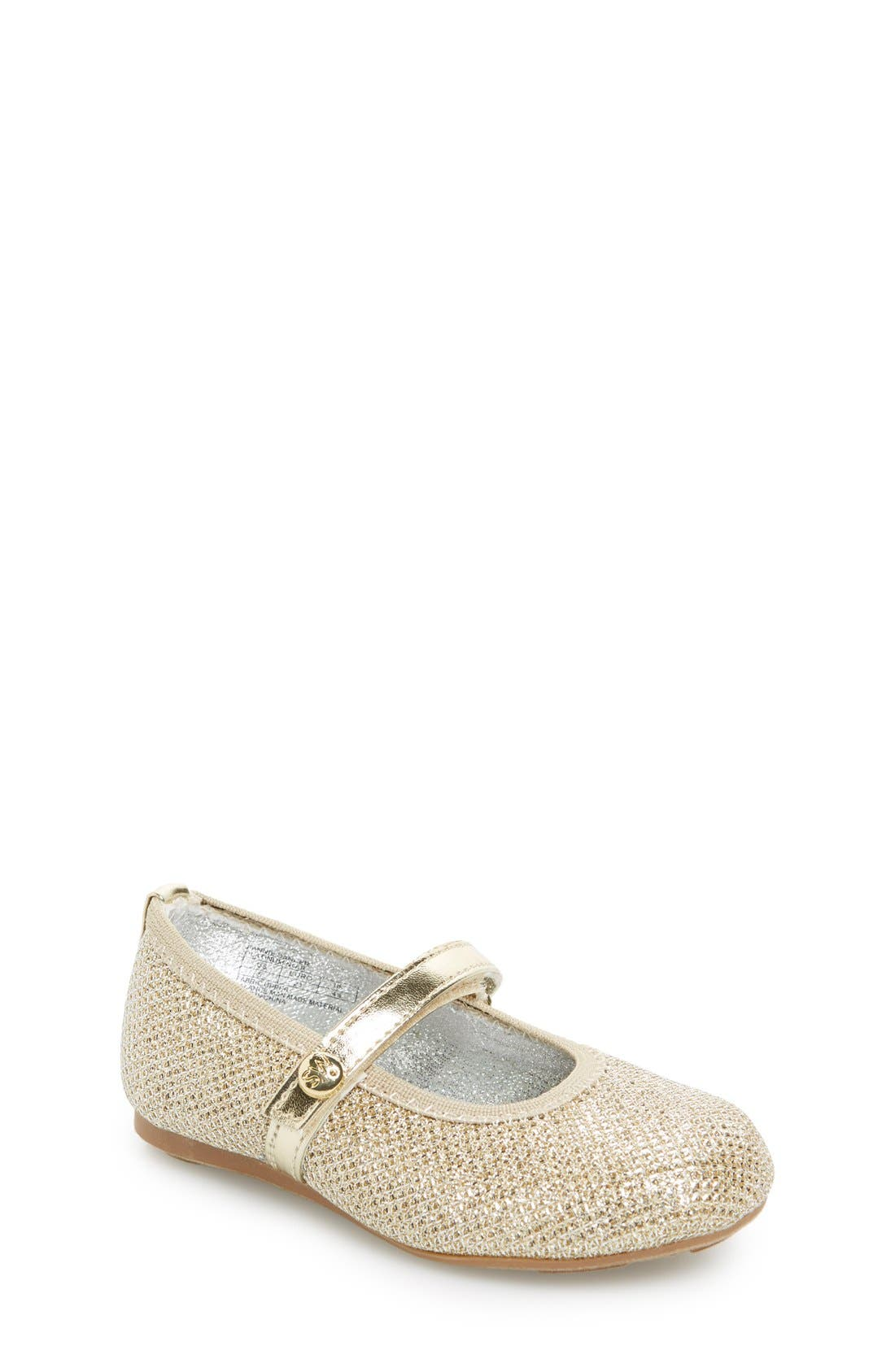 Main Image - Stuart Weitzman 'Fannie' Glitter Mesh Mary Jane (Walker & Toddler)