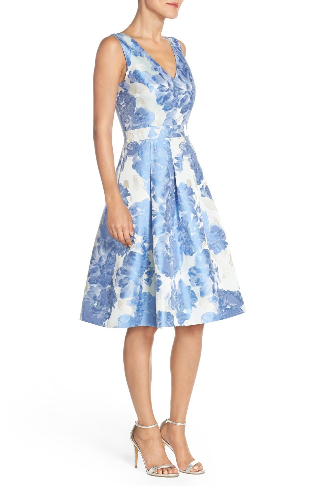 Alternate Image 2  - Eliza J Floral Jacquard Fit & Flare Dress