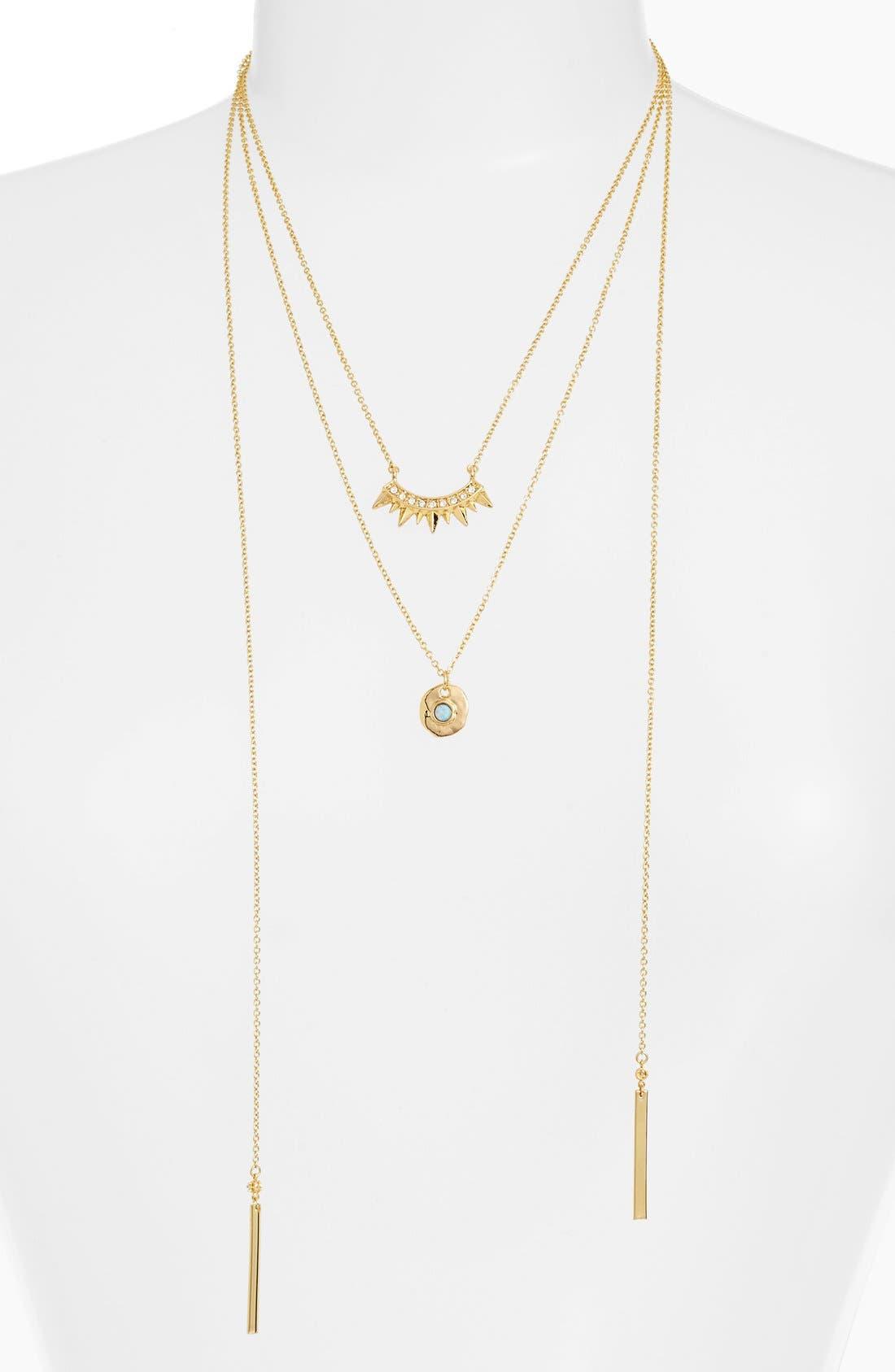 Tier Tassel Necklace,                         Main,                         color, Gold