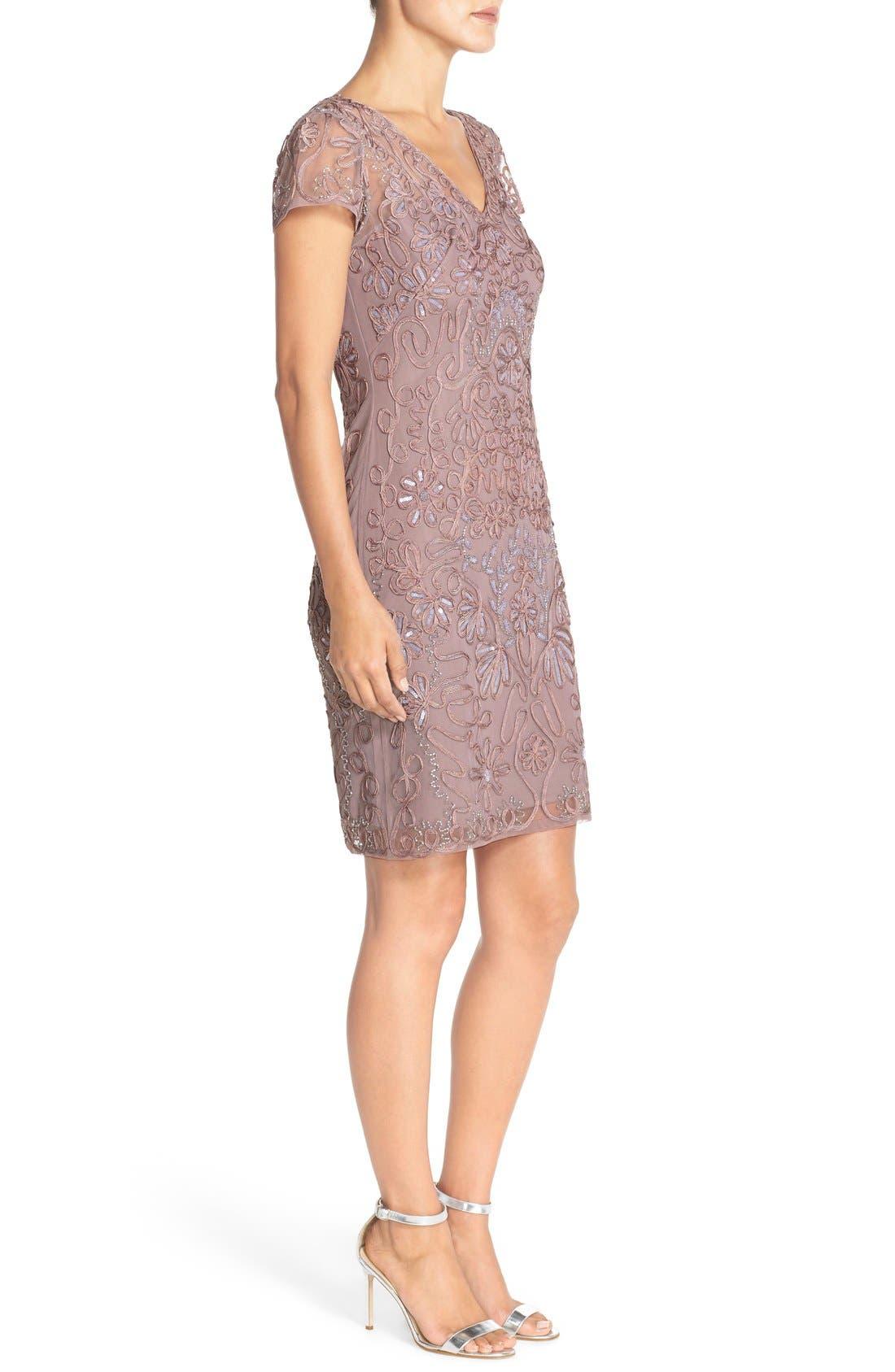Embellished Soutache Sheath Dress,                             Alternate thumbnail 4, color,                             Dusty Lavender