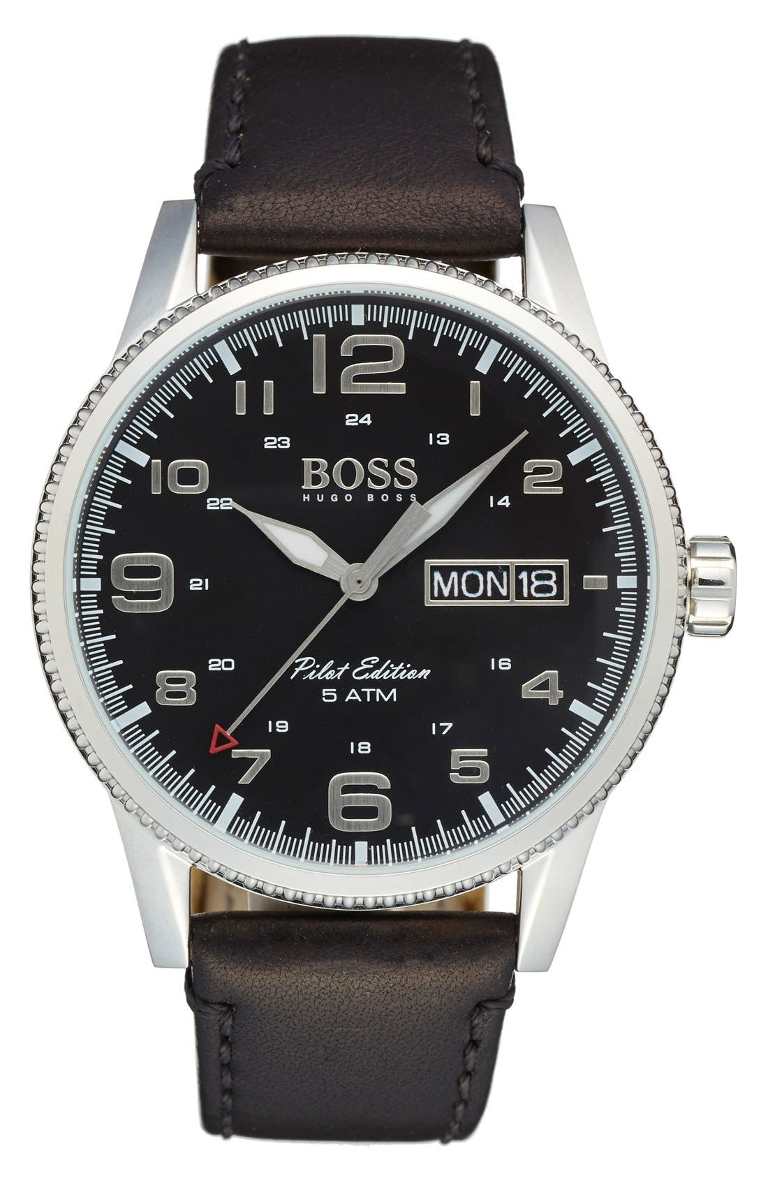 'Pilot' Watch, 44mm,                         Main,                         color, Black/ Silver/ Black