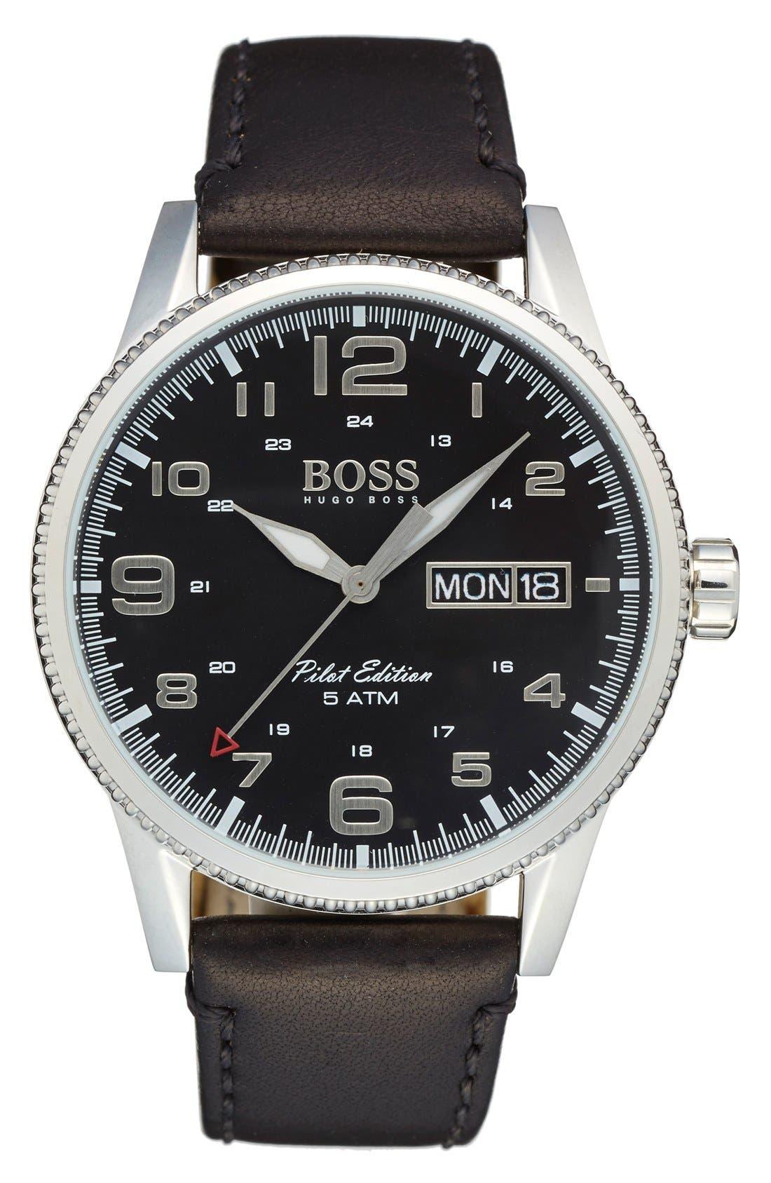 'Pilot' Watch, 44mm,                         Main,                         color, Black/ Silver/ Black
