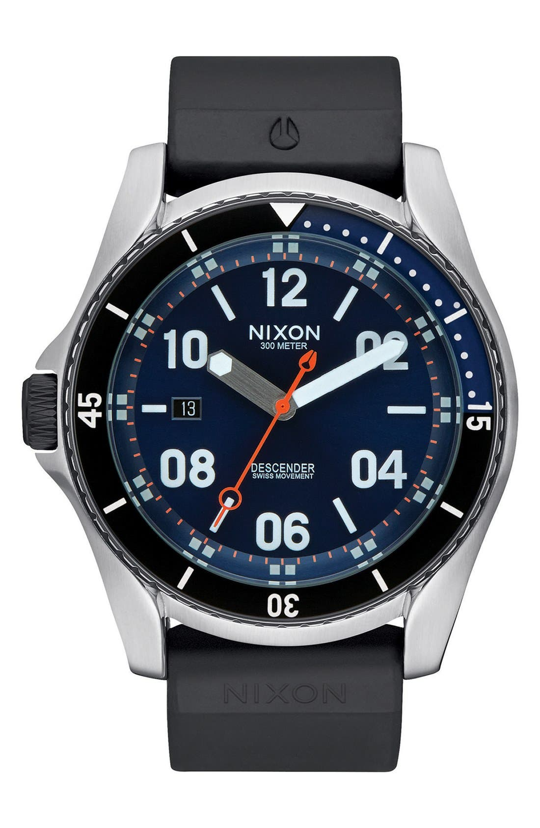NIXON Descender Silicone Strap Watch, 45mm