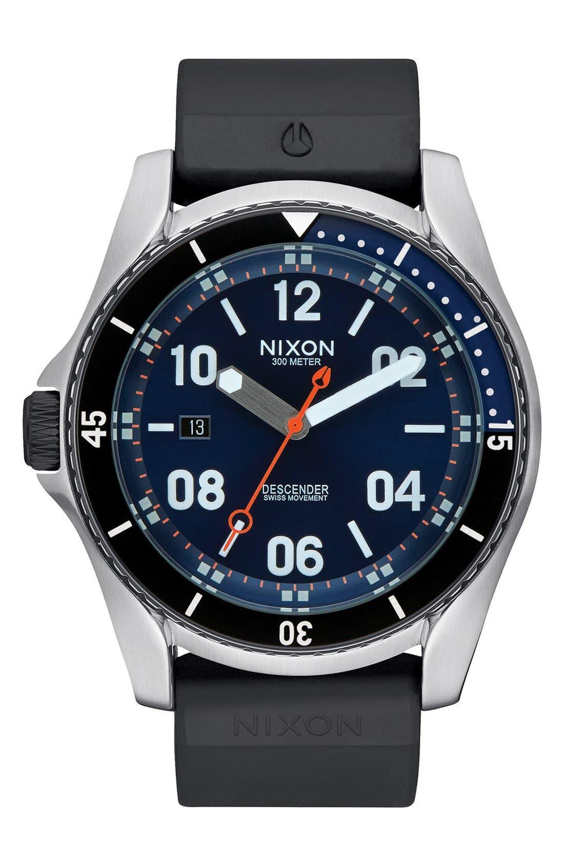 Nixon 'Descender' Silicone Strap Watch, 45mm
