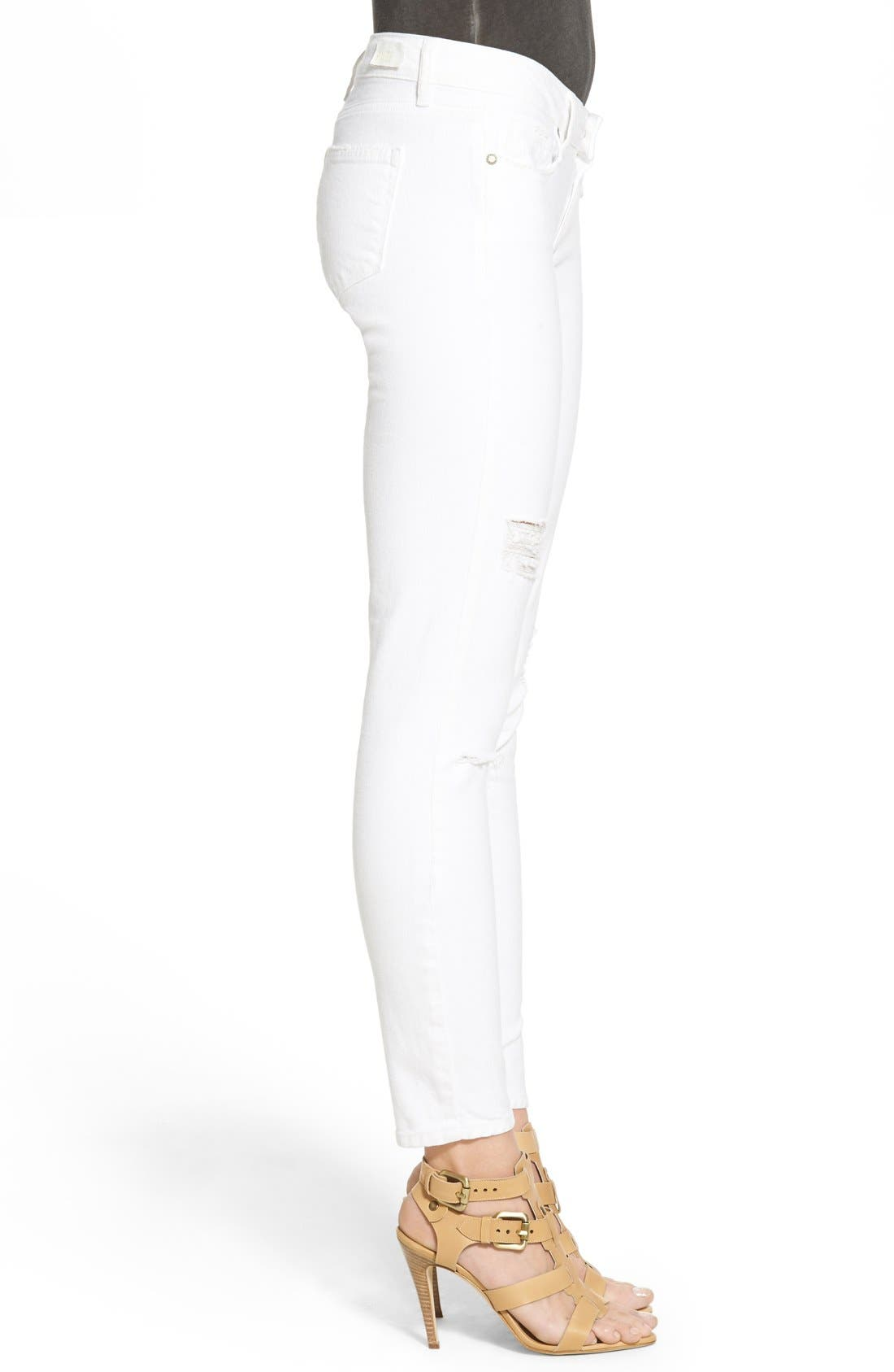 Alternate Image 3  - PAIGE 'Verdugo' Ankle Skinny Jeans (Arctic White Destructed)
