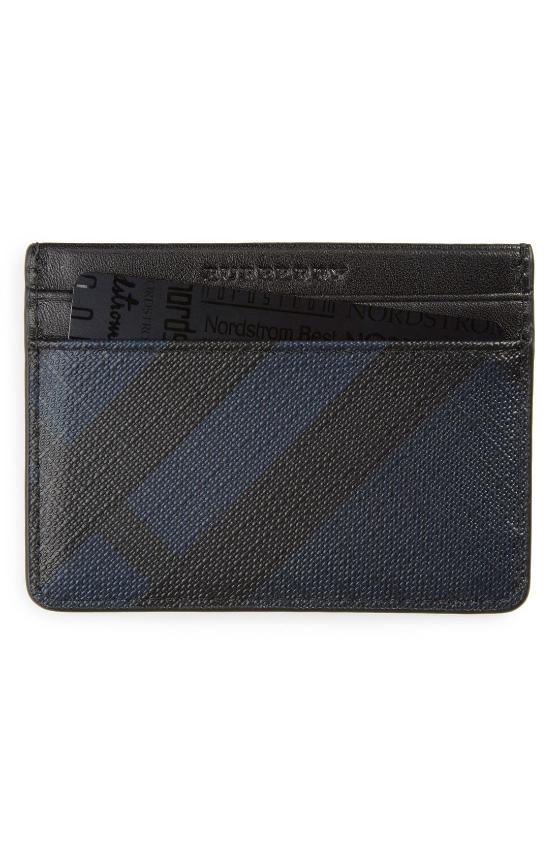 'New London' Check Card Case,                         Main,                         color, Navy/ Black