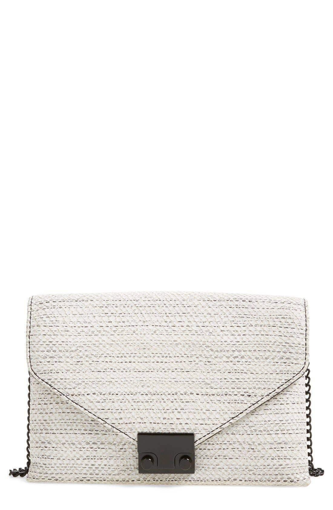 'Junior Lock' Leather Envelope Clutch,                             Main thumbnail 1, color,                             White Black