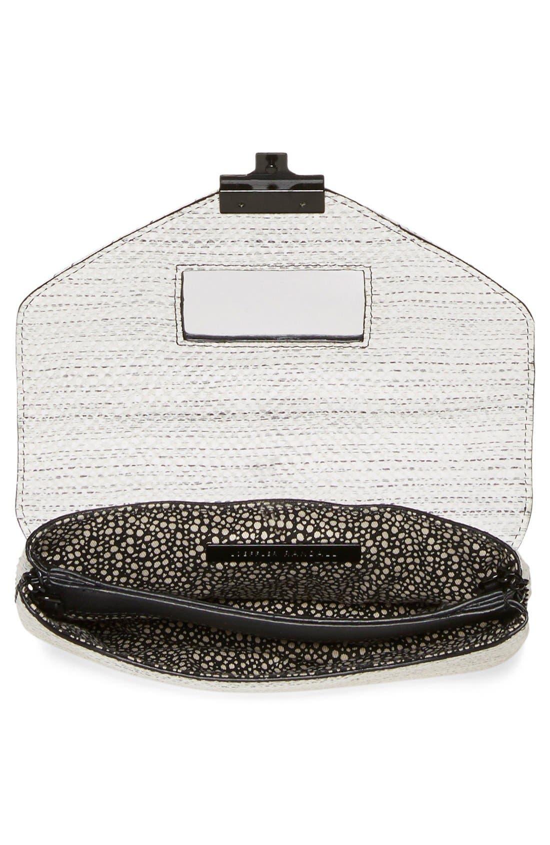 'Junior Lock' Leather Envelope Clutch,                             Alternate thumbnail 4, color,                             White Black
