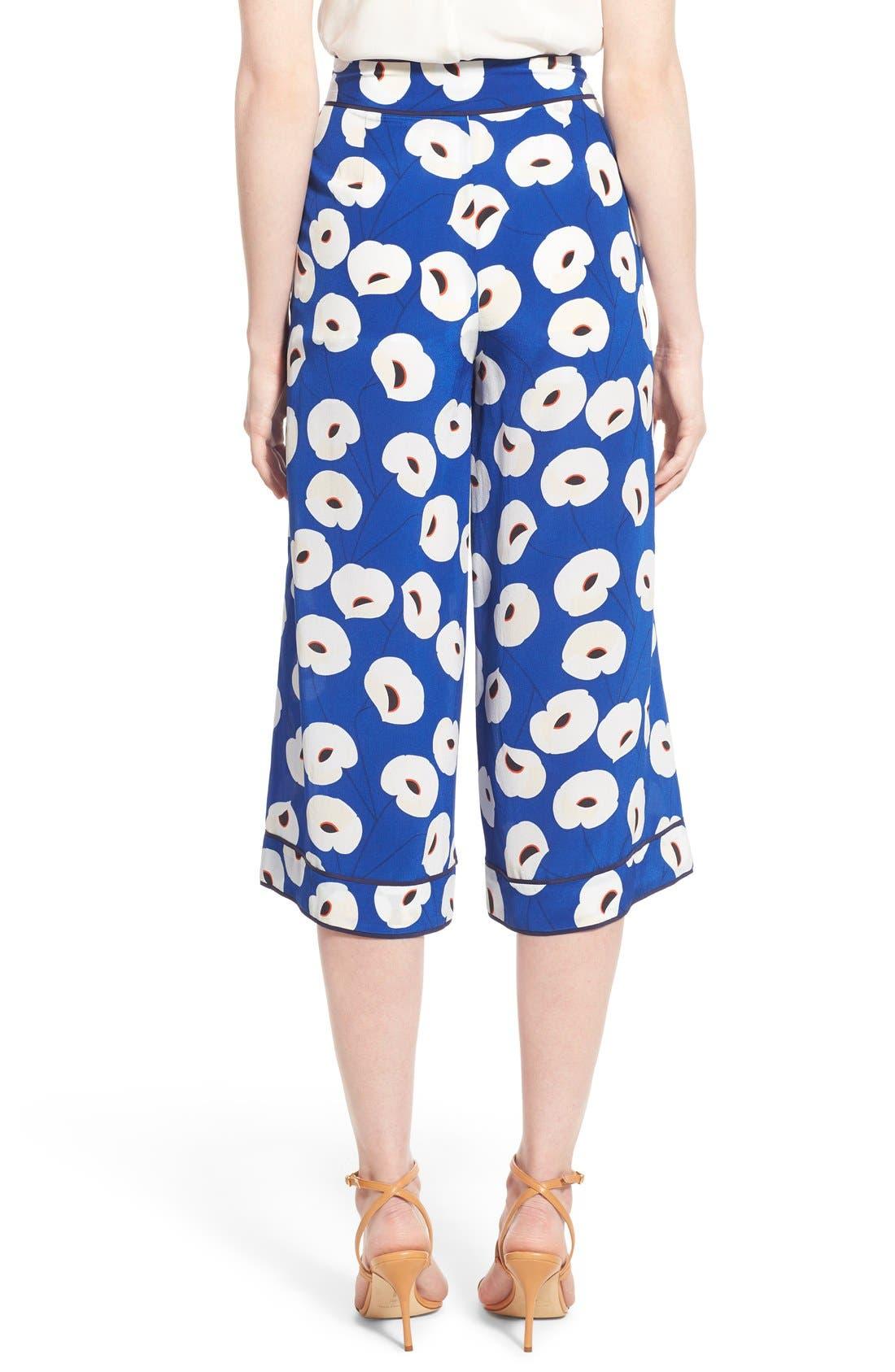 Floral Print Silk Culottes,                             Alternate thumbnail 3, color,                             Blue Mazarine Poppy