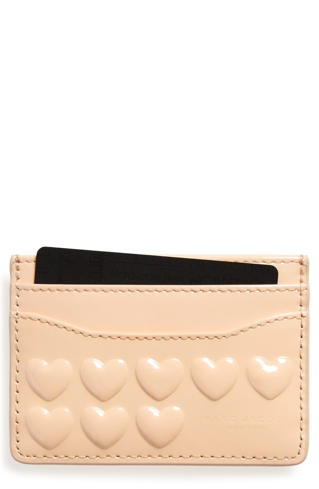 Embossed Heart Leather Card Case,                             Main thumbnail 1, color,                             Seashell Peach