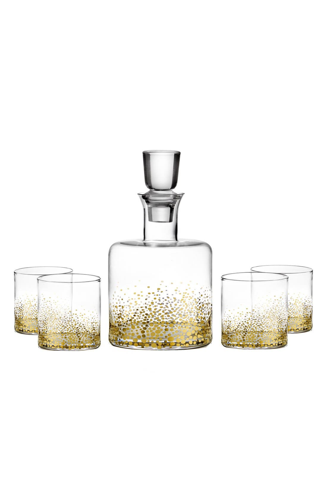 'Daphne' Decanter & Whiskey Glasses,                             Main thumbnail 1, color,                             Luster/ Light Gold