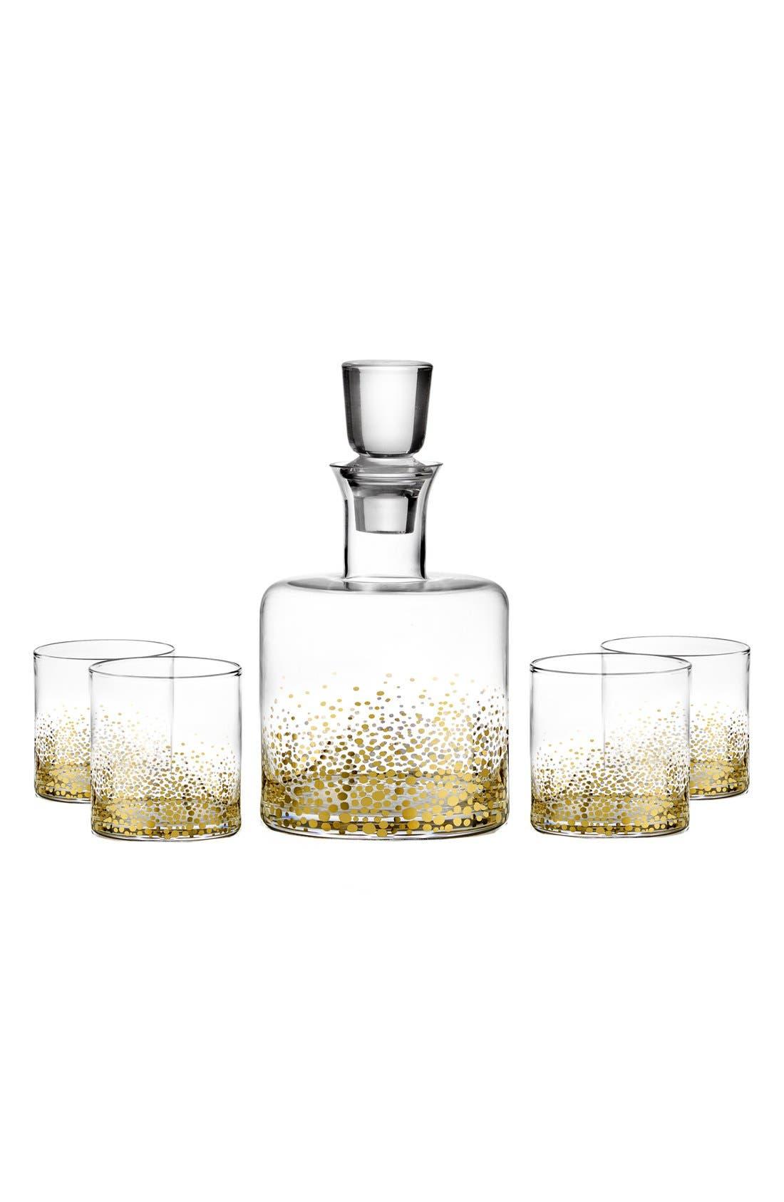'Daphne' Decanter & Whiskey Glasses,                         Main,                         color, Luster/ Light Gold