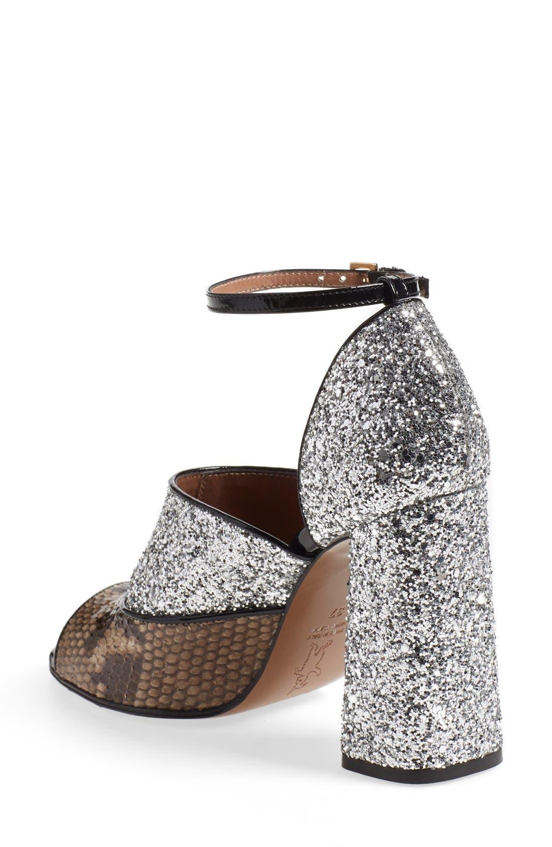 Alternate Image 2  - Marni Peep Toe Chunky Genuine Python & Glitter Sandal (Women)