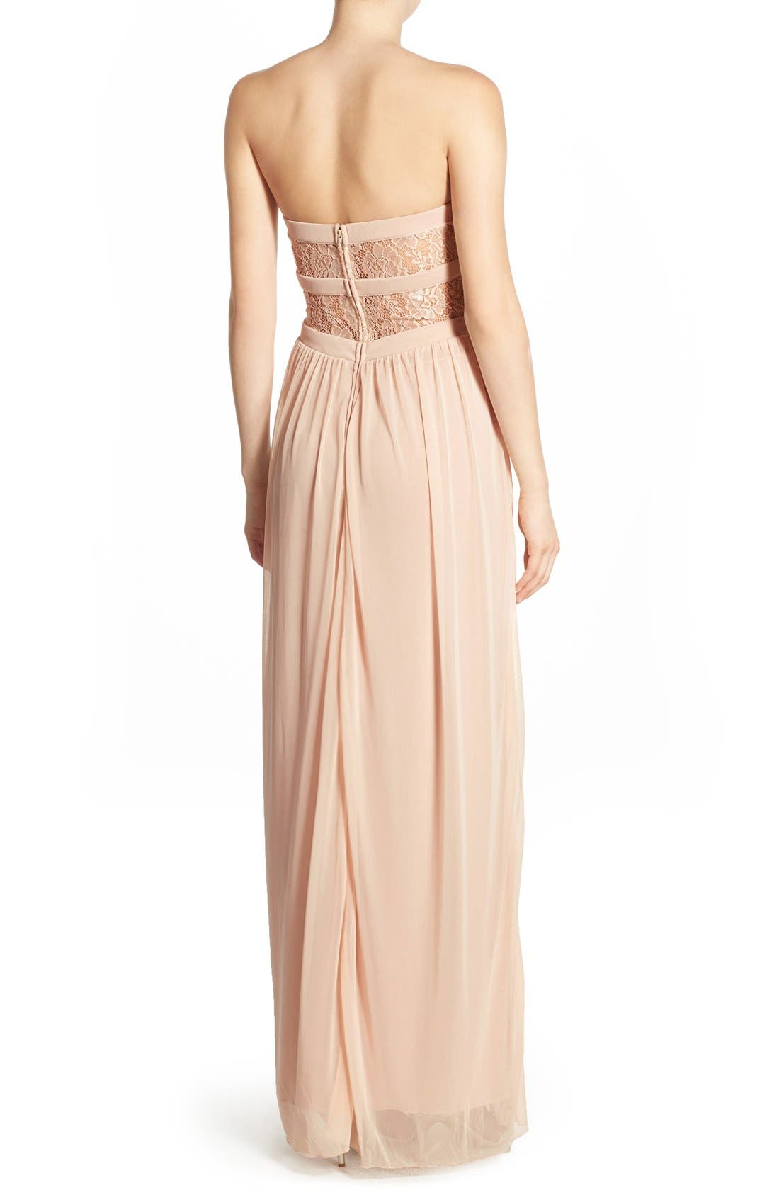 Alternate Image 3  - Way-In 'Diana' Lace Inset Strapless Gown
