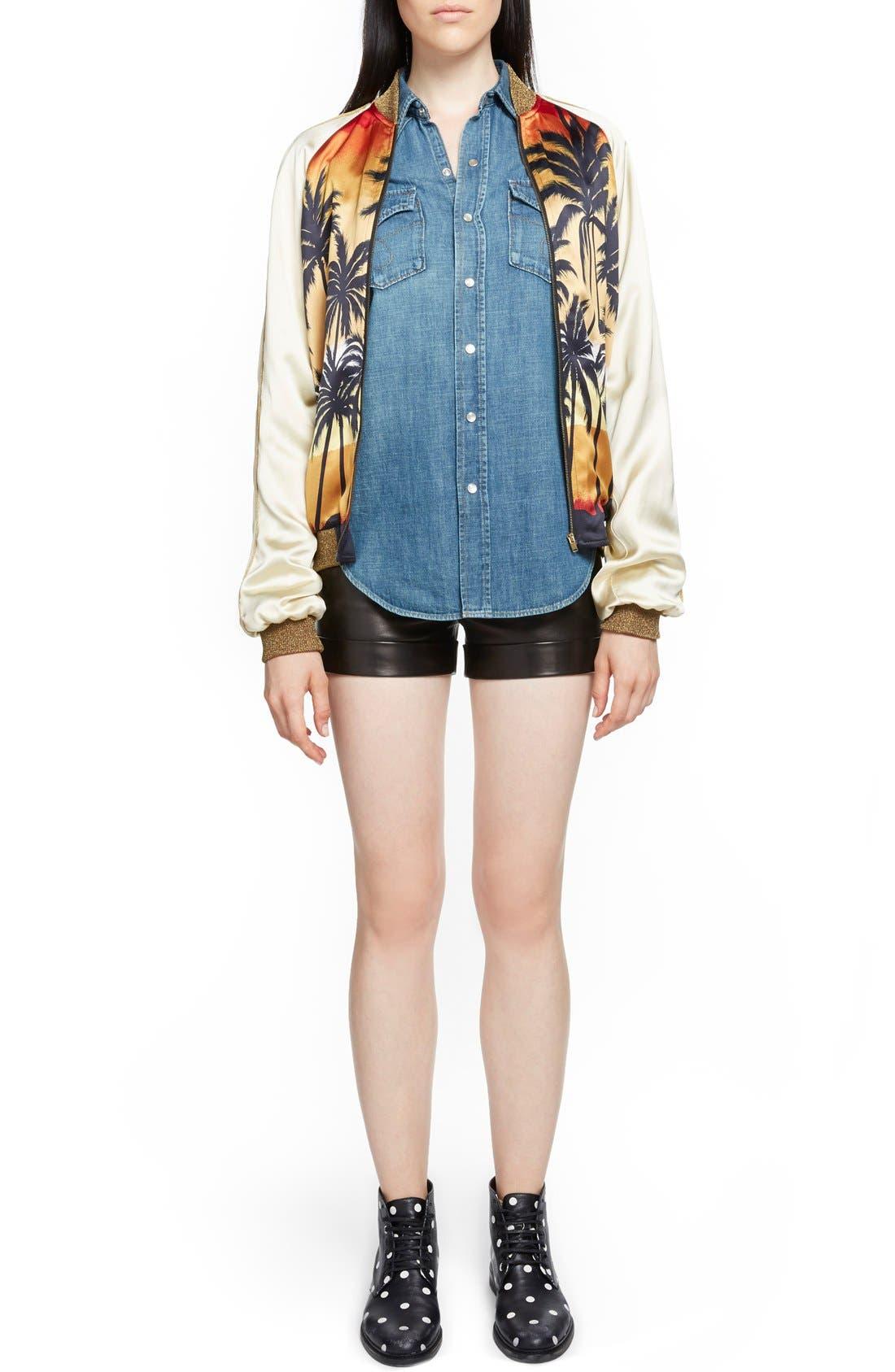 Alternate Image 6  - Saint Laurent Palm Print Raglan Bomber Jacket