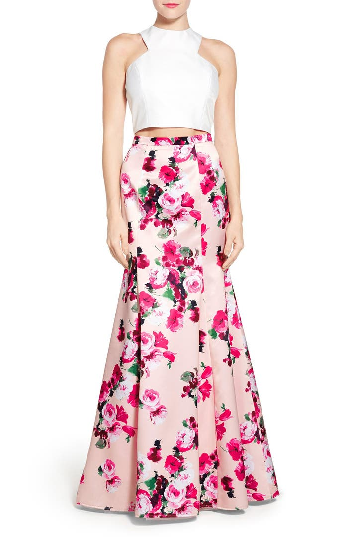 Xscape Floral Satin Two Piece Ballgown Nordstrom
