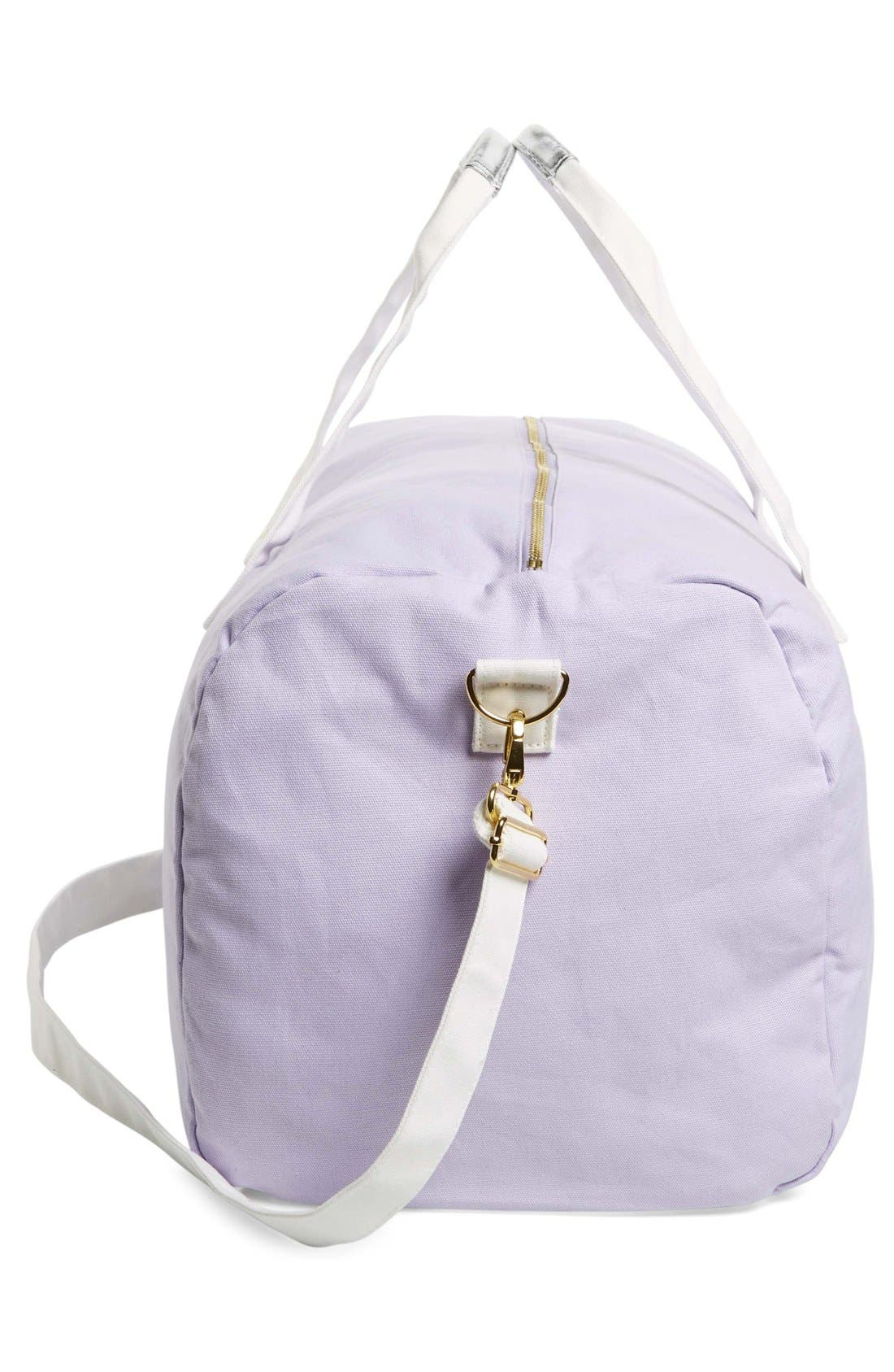 'Vacation Vacation Vacation' Canvas Duffel,                             Alternate thumbnail 5, color,                             Purple