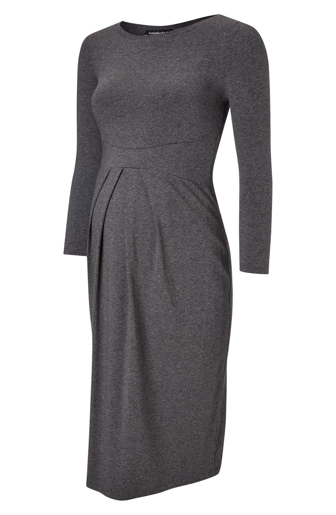 Ivybridge Jersey Maternity Dress,                             Alternate thumbnail 6, color,                             Dark Grey Marl